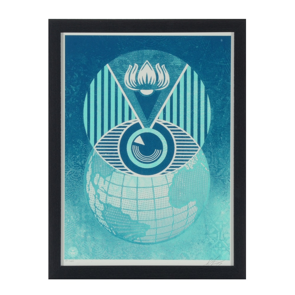 "Shepard Fairey Limited Edition Serigraph ""Flint Eye Alert Globe"""