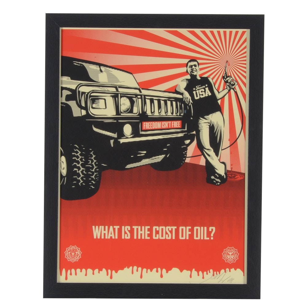 "Shepard Fairey Limited Edition Serigraph ""What is the Cost of Oil"""