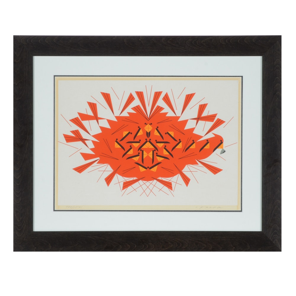 """Charley Harper 1973 Limited Edition Serigraph """"The Last Sunflower Seed"""""""