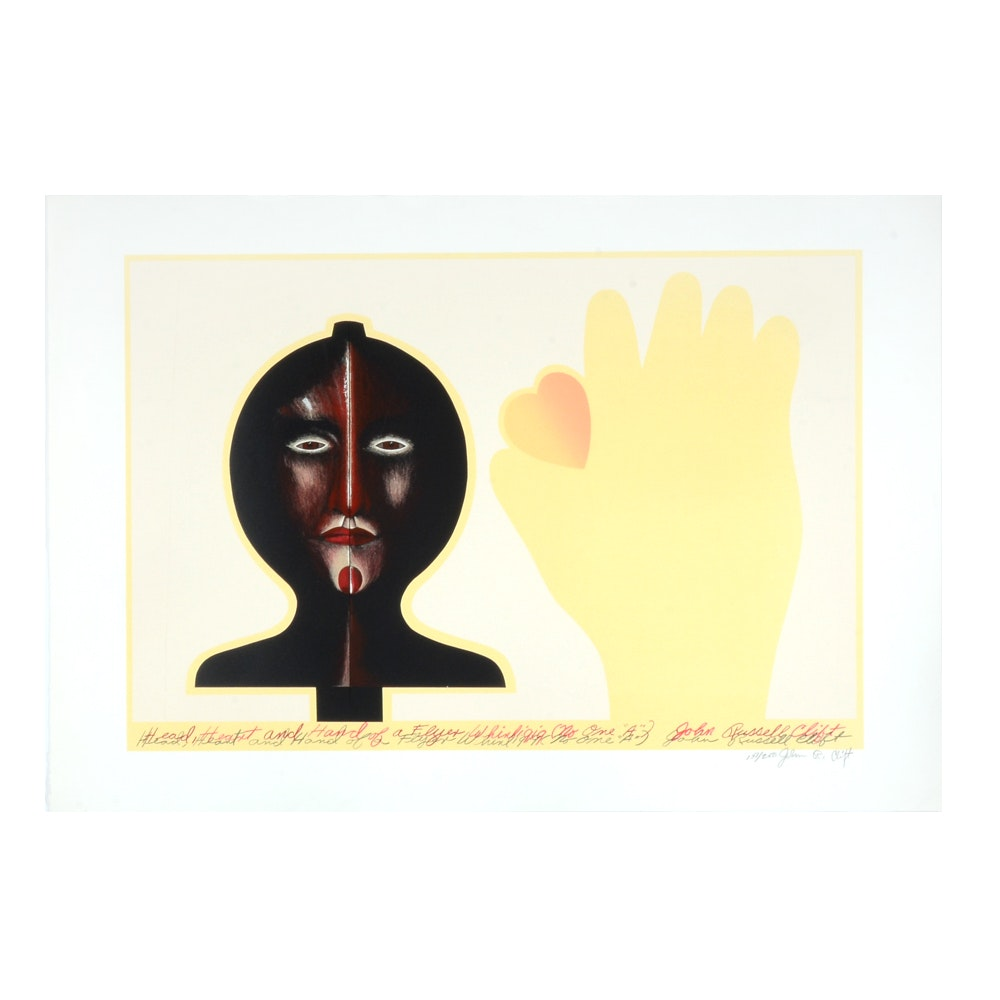 """John Russell Clift Lithograph """"Head, Heart, and Hand of a Flyer Whirligig"""""""