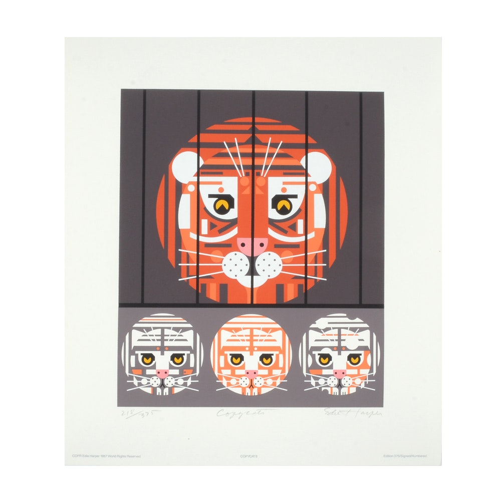 """Edie Harper 1987 Signed Limited Edition Serigraph """"Copycats"""""""