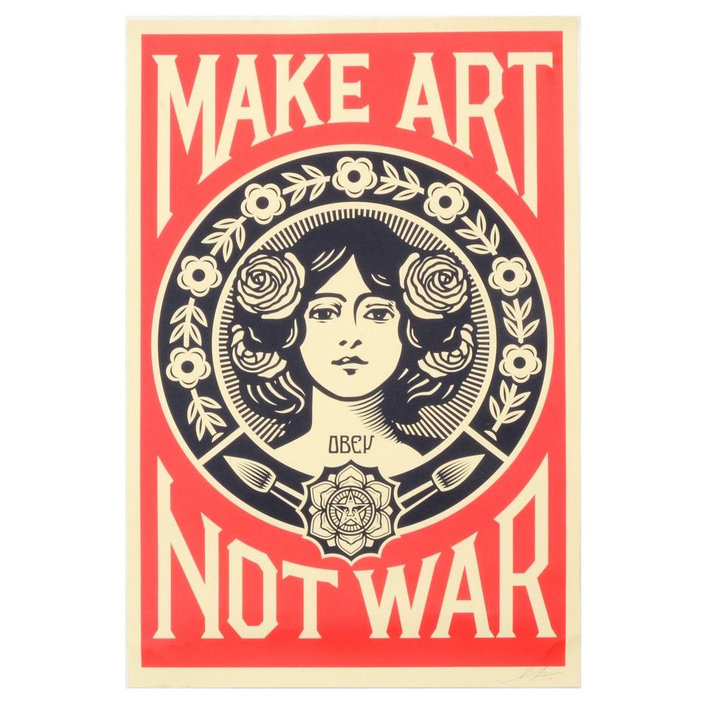 """Shepard Fairey Signed Offset Print """"Make Art Not War"""""""