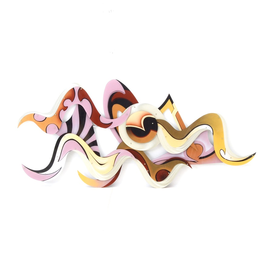 Shlomi Haziza Large Scale Contemporary Metal And Acrylic Wall Sculpture