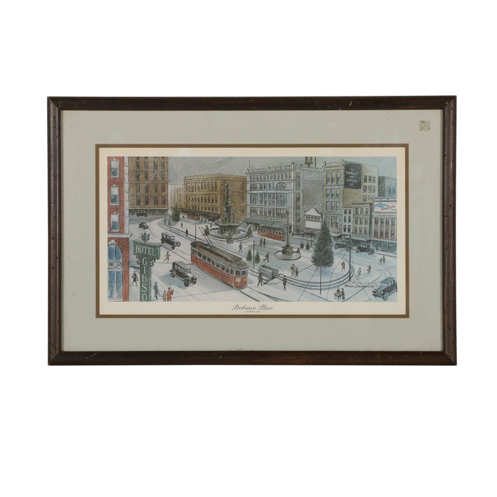 "Limited Edition Warren Sitchtenoth Signed Offset Lithograph ""Probasco Place"""