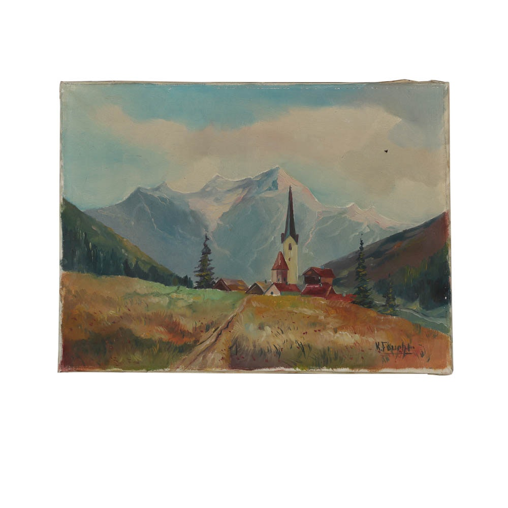 K. Foucht Oil Painting of a Mountain Landscape
