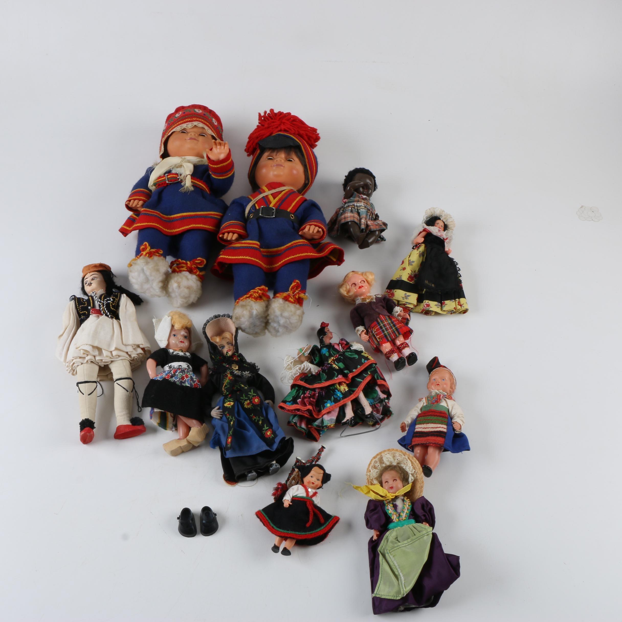 Vintage Miniature Celluloid and Cloth Souvenir Dolls