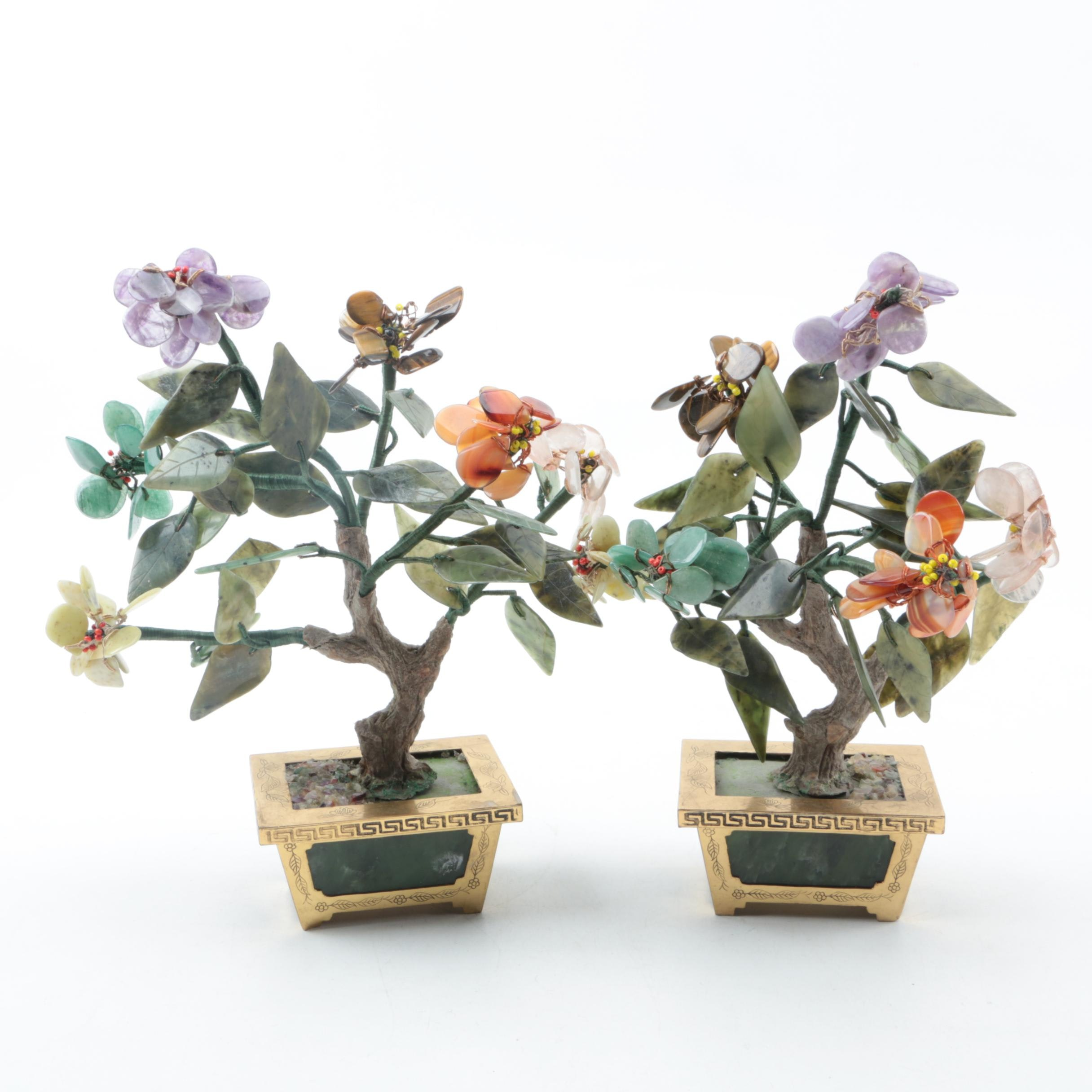 Pair of Quartz and Serpentine Trees in Brass Urns
