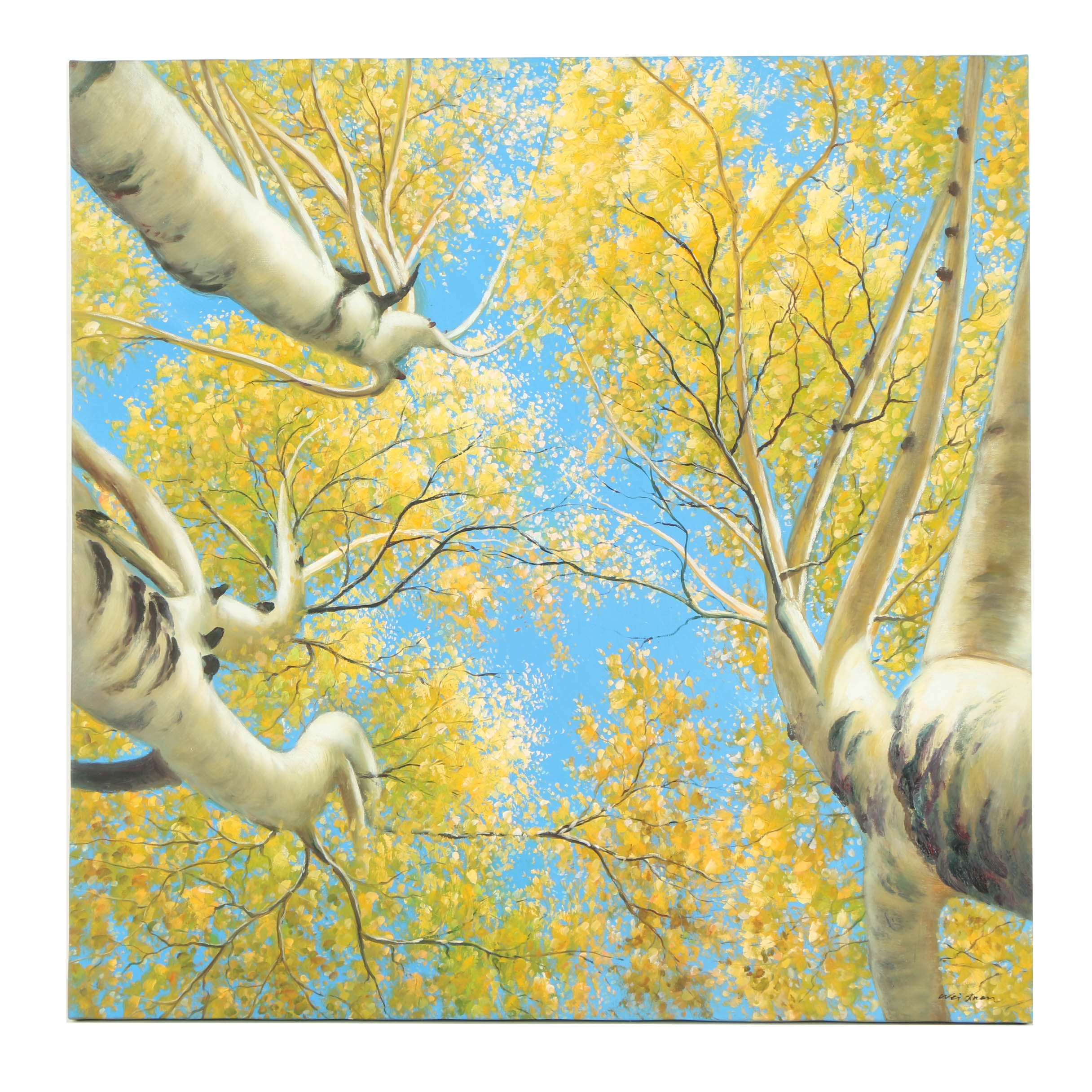 Oil Painting of Vertical View of Trees