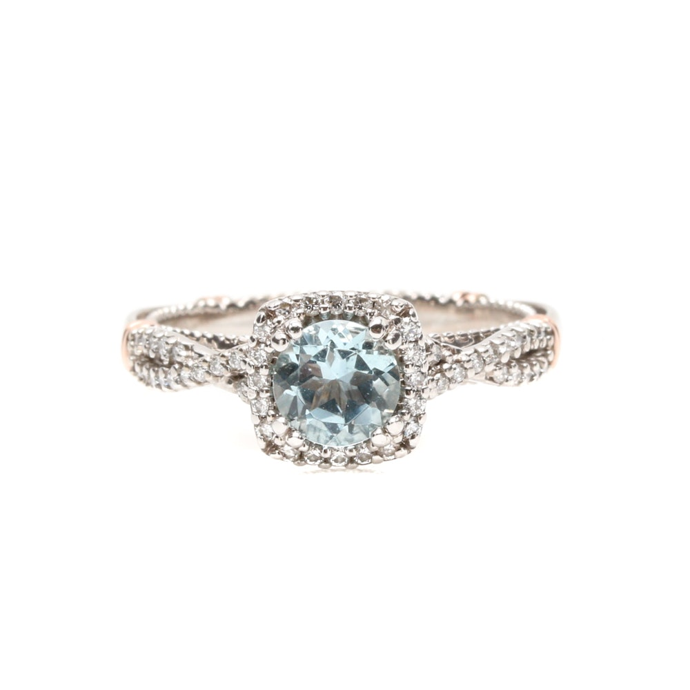 "Verragio ""Parisian"" 14K White Gold Aquamarine and Diamond Ring"