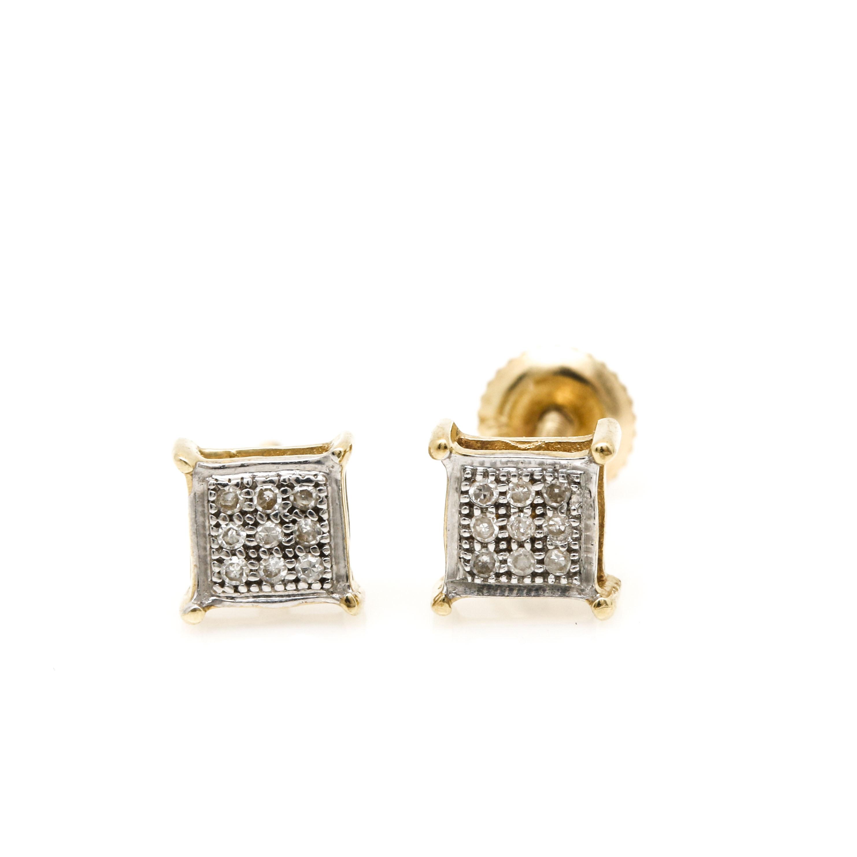 10K Yellow Gold Diamond Square Earrings