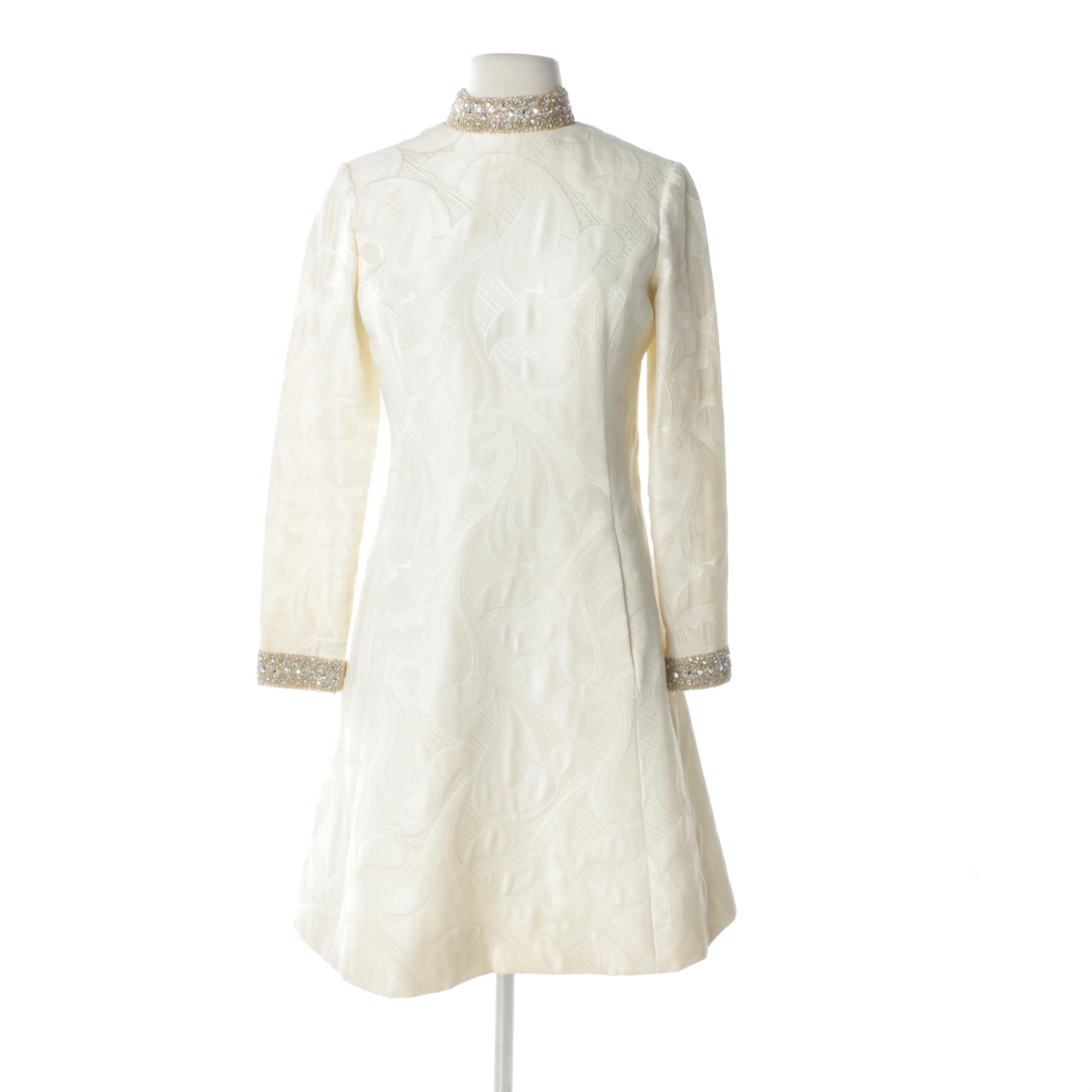 1960s Victor Costa Silk Brocade and Rhinestone Cocktail Dress