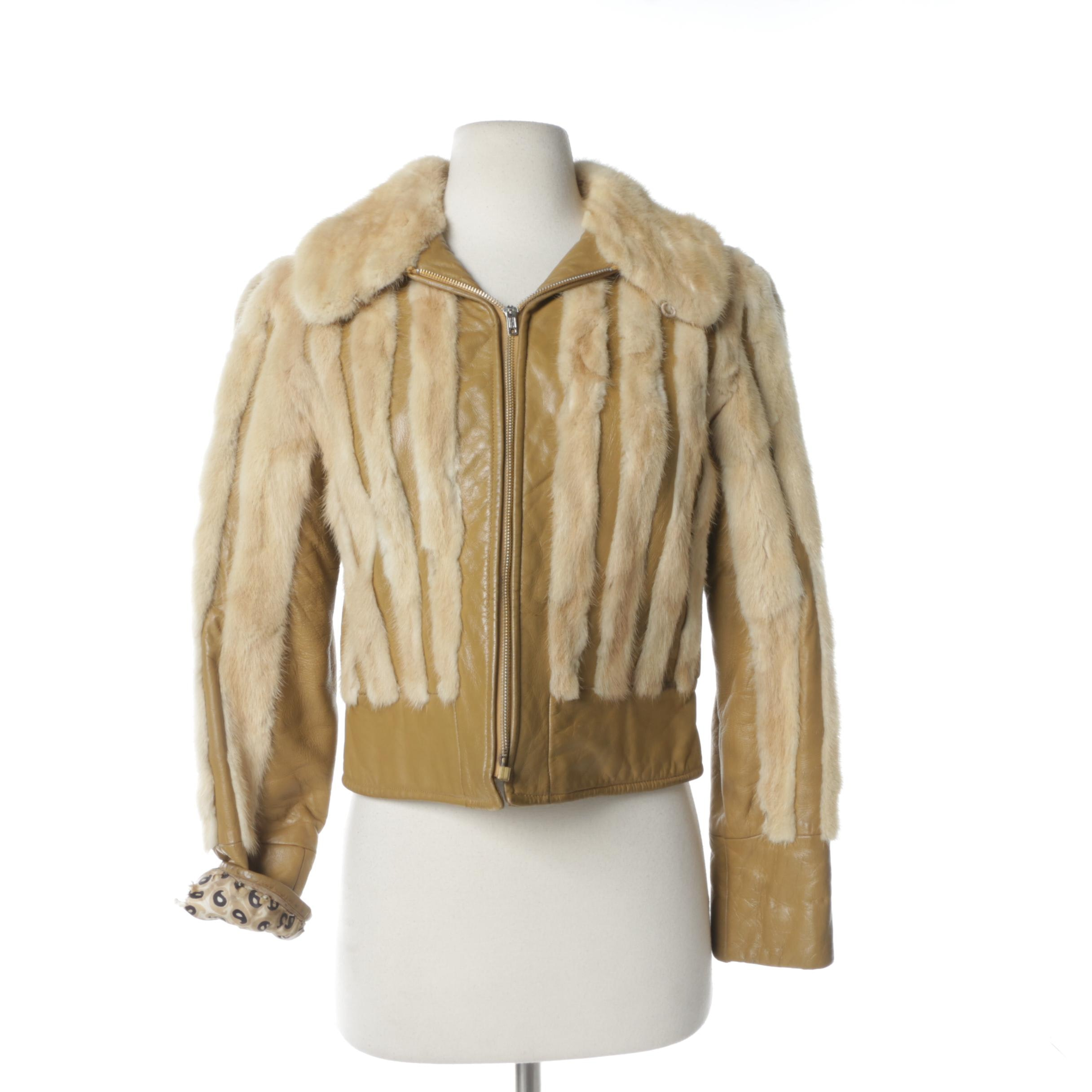 Women's 1970s Leather and Mink Fur Cropped Jacket