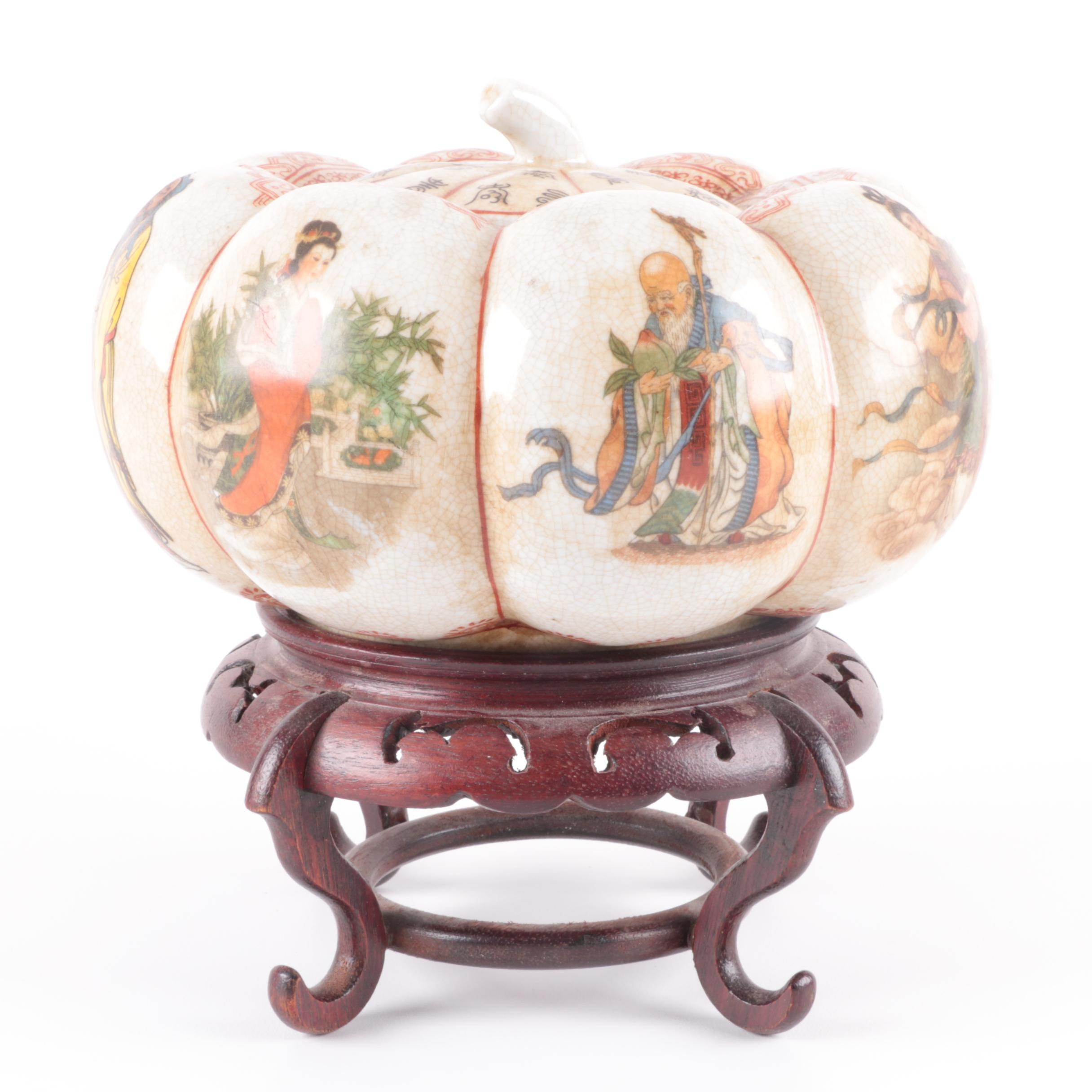 Chinese Pumpkin Shaped Ceramic Jar