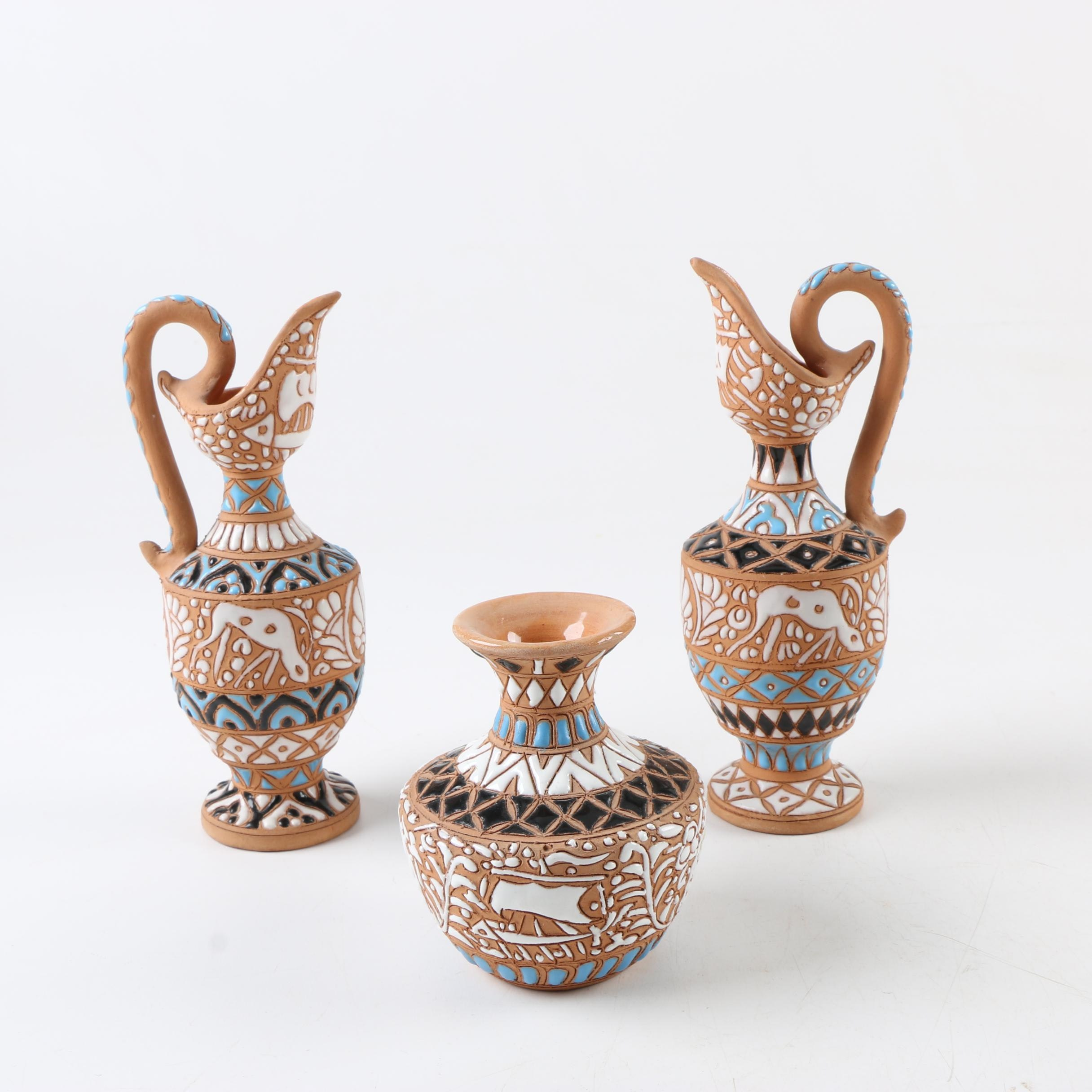 Hellas Handmade EarthenWare Vase and Pitchers