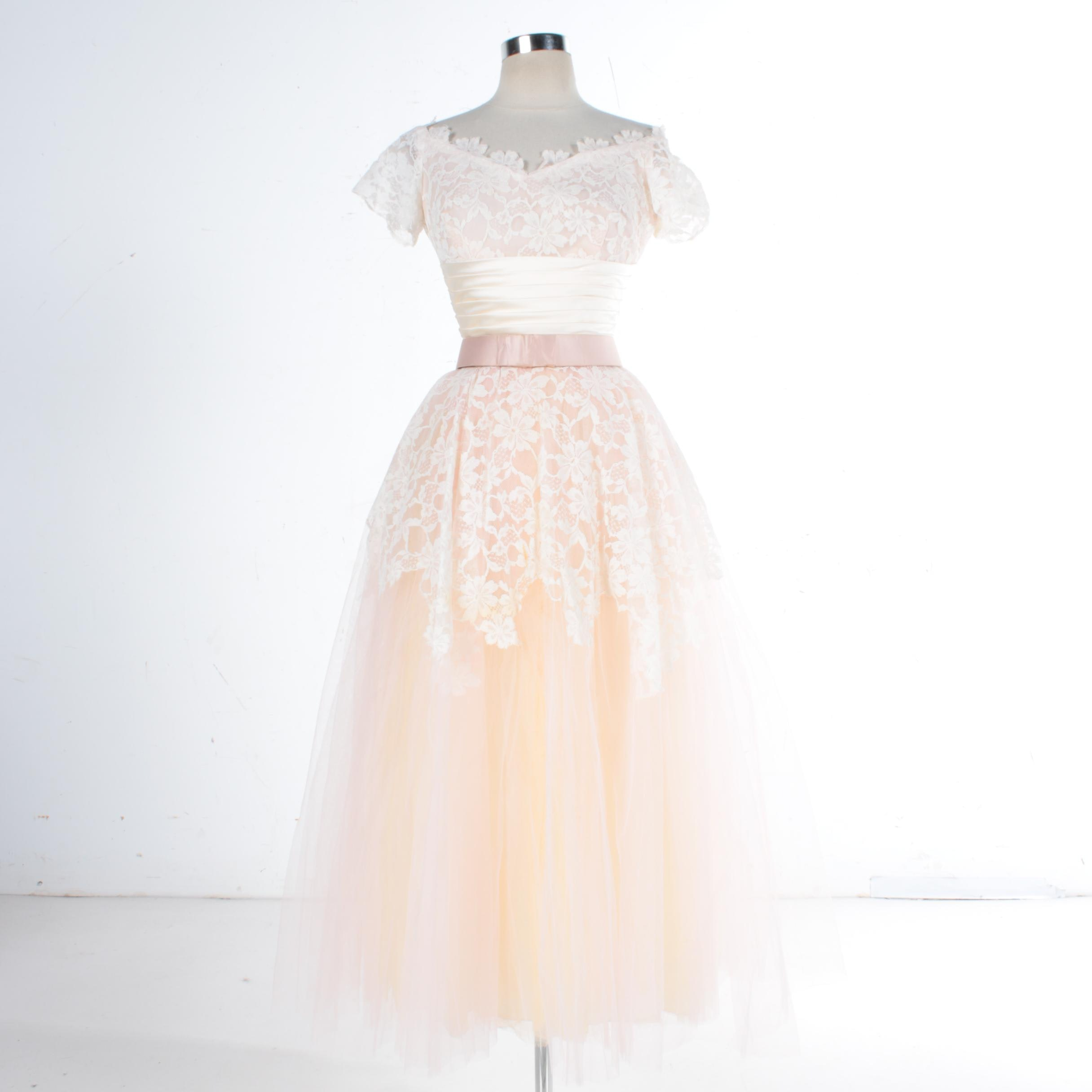 1950s Pink and Ivory Lace and Tulle Evening Gown
