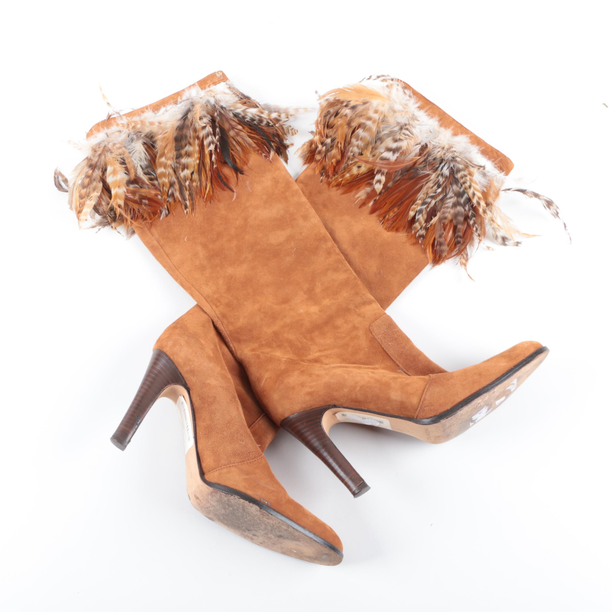 Michael Kors Boutique Suede and Feather Boots