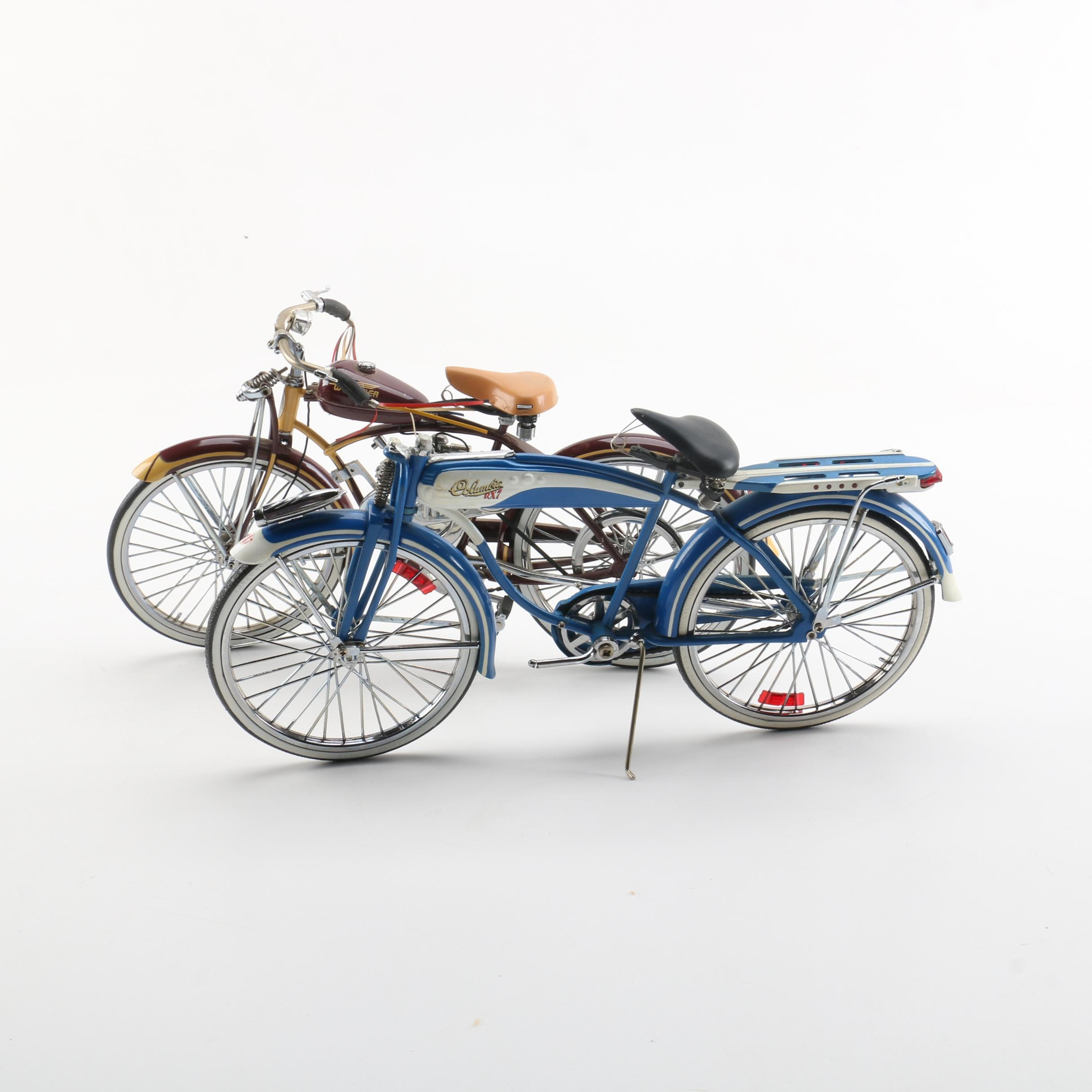 Columbia RX7 and 1948 Schwinn Whizzer Diecast Scale Model Replica Bicycles