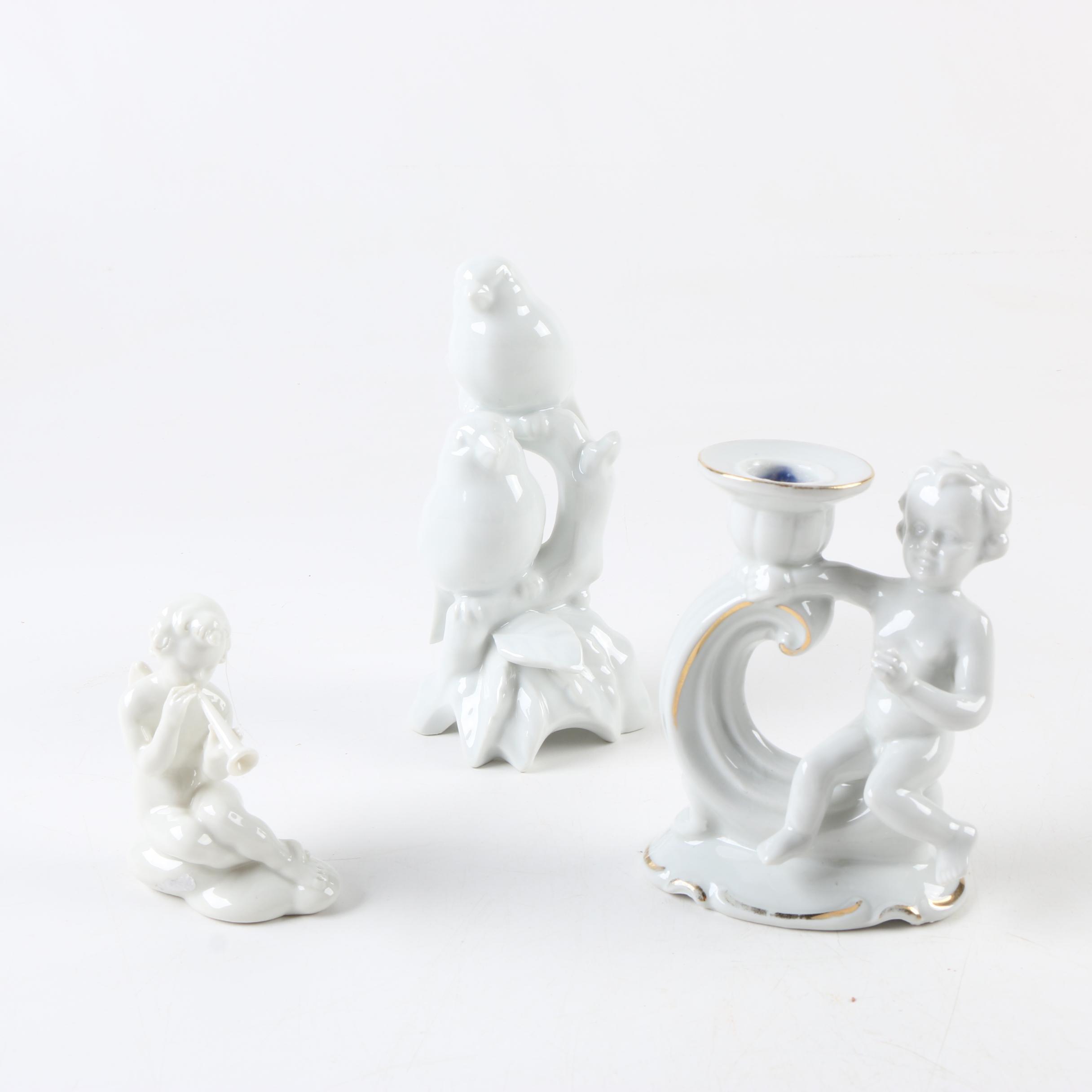 Porcelain Cherub and Bird Motif Figures with Candleholder