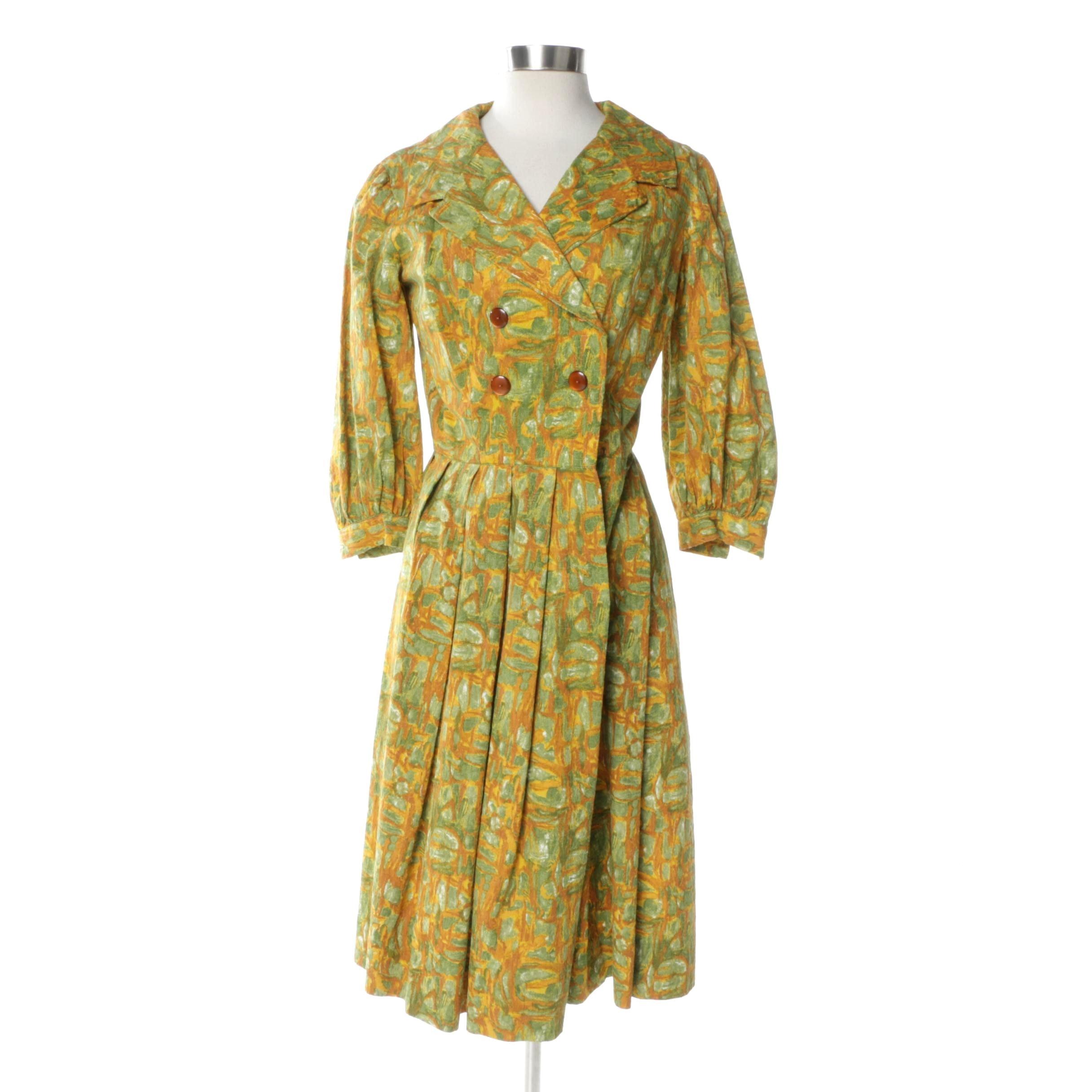 1950s Yellow Printed Jaquard Cocktail Dress