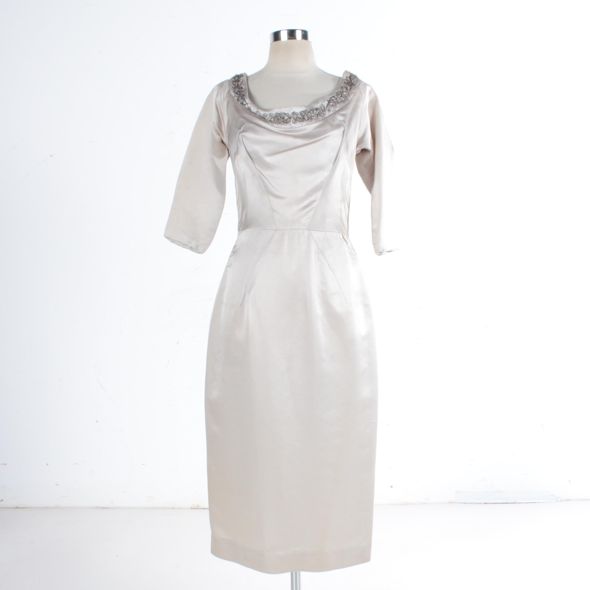 1950s Lillie Rubin Beaded Silk Cocktail Dress