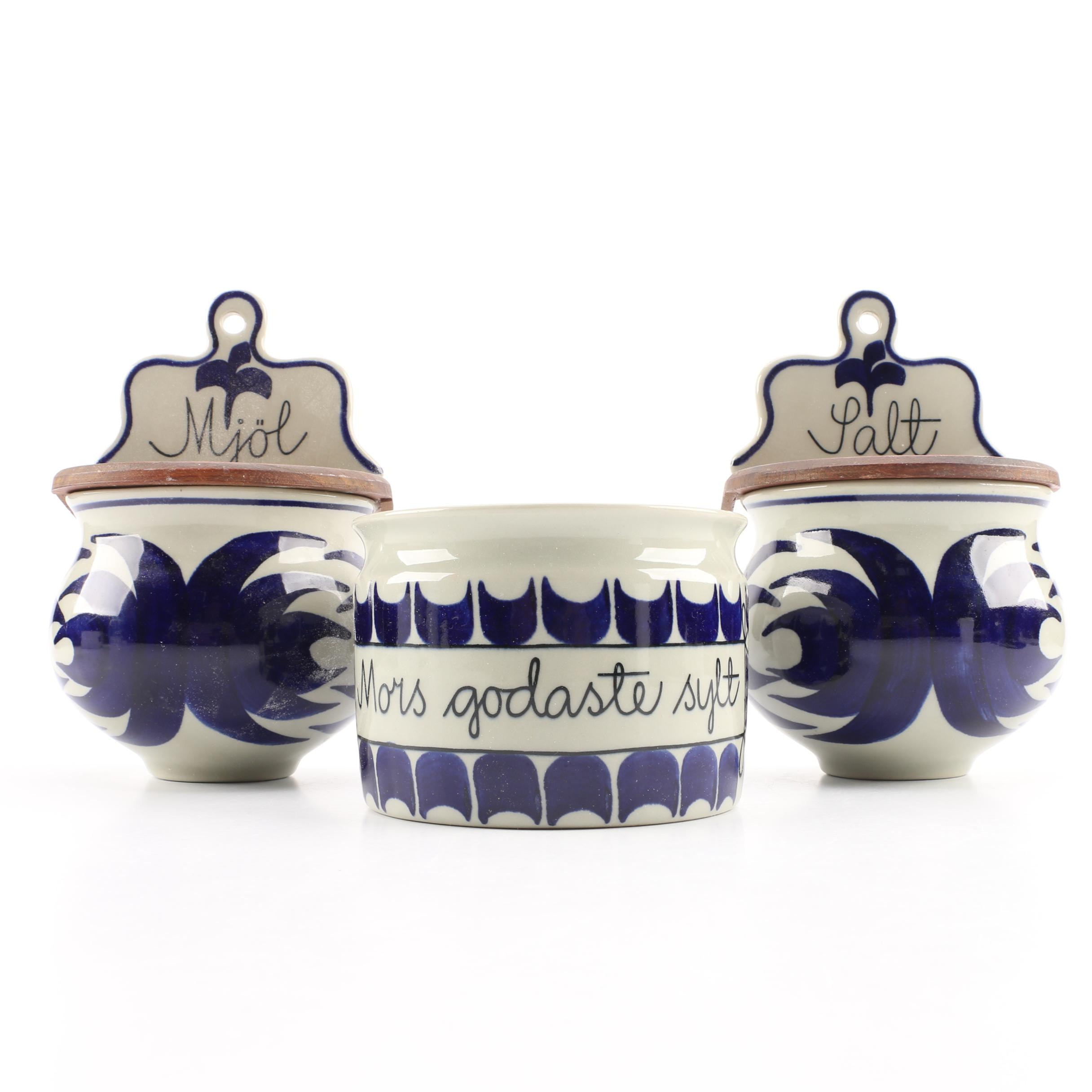 """Rorstrand Pottery Swedish Wall Hanging Canisters and """"Mother's Best Jam"""" Jar"""