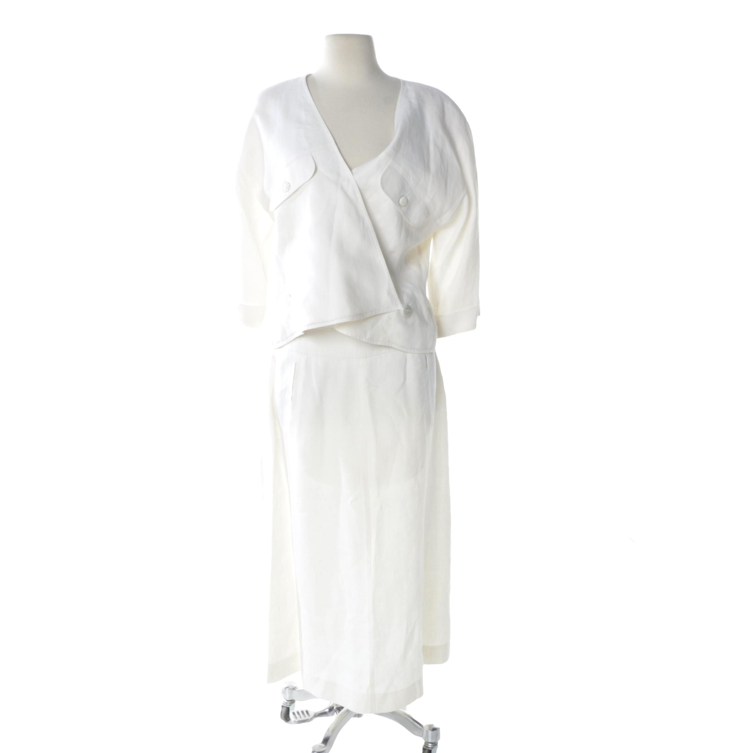 1980s Courreges Linen Skirt and Top Set