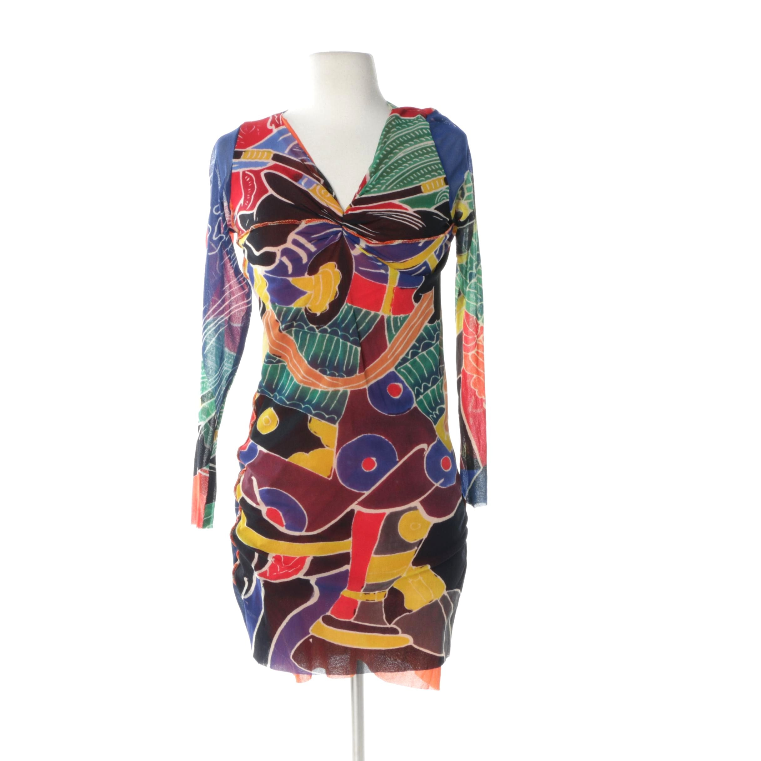 1990s Jean Paul Gaultier Maille Colorful Print Bodycon Dress