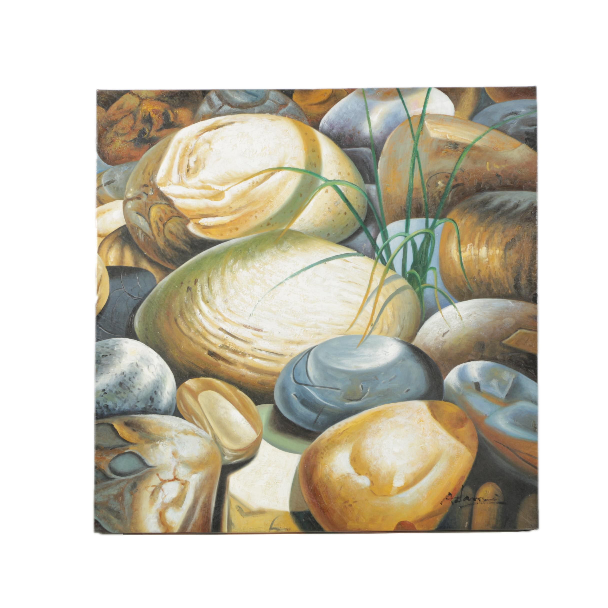 Adam Oil on Canvas Painting of Pebbles