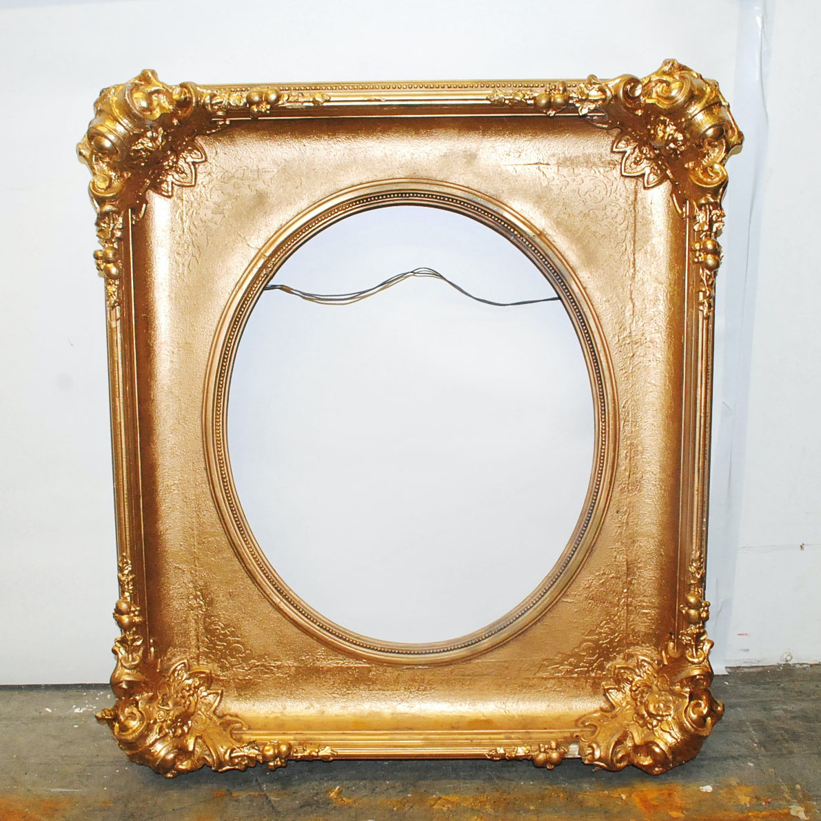Antique Gold Tone Carved Wood Frame