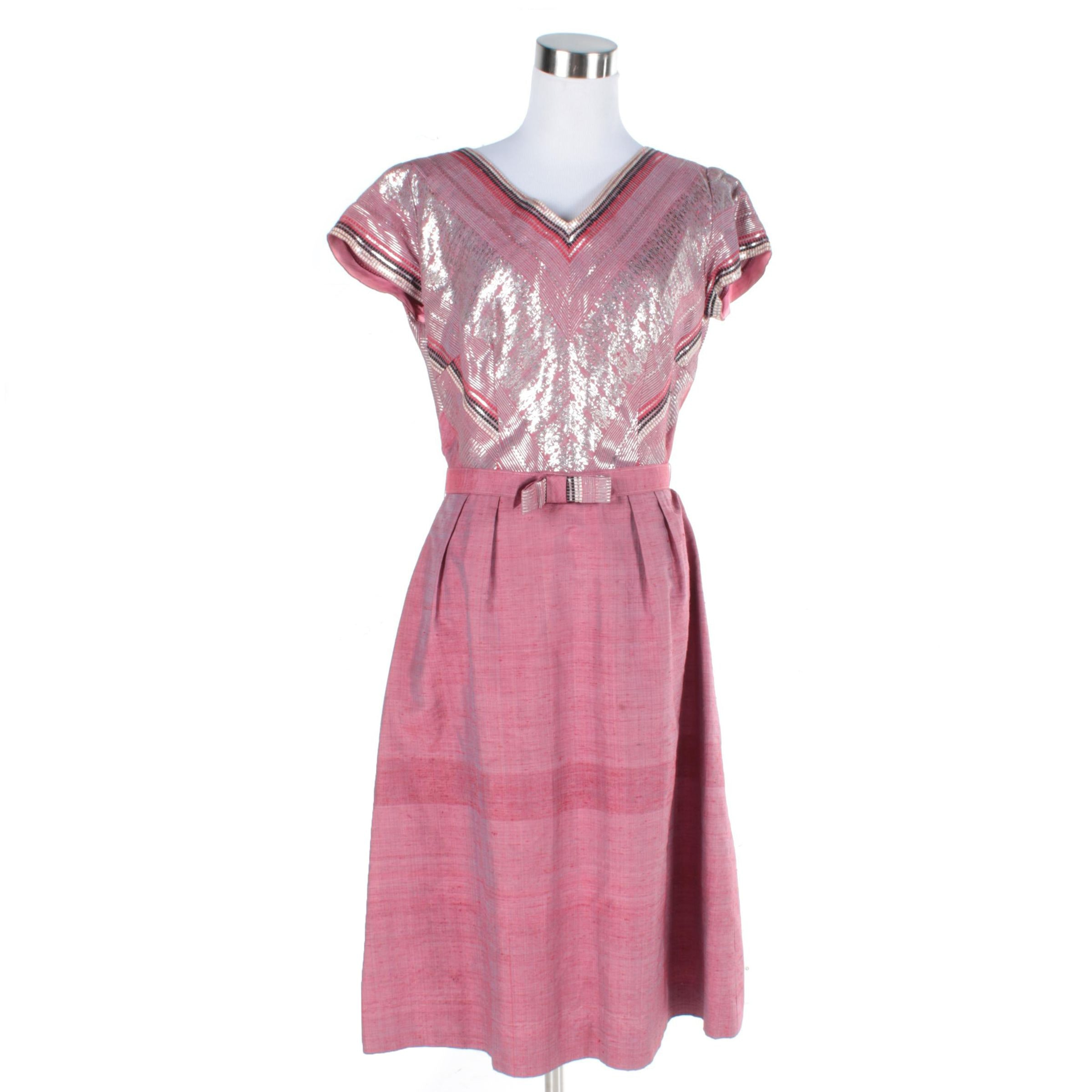 Vintage Pink Metallic Short Sleeved Dress