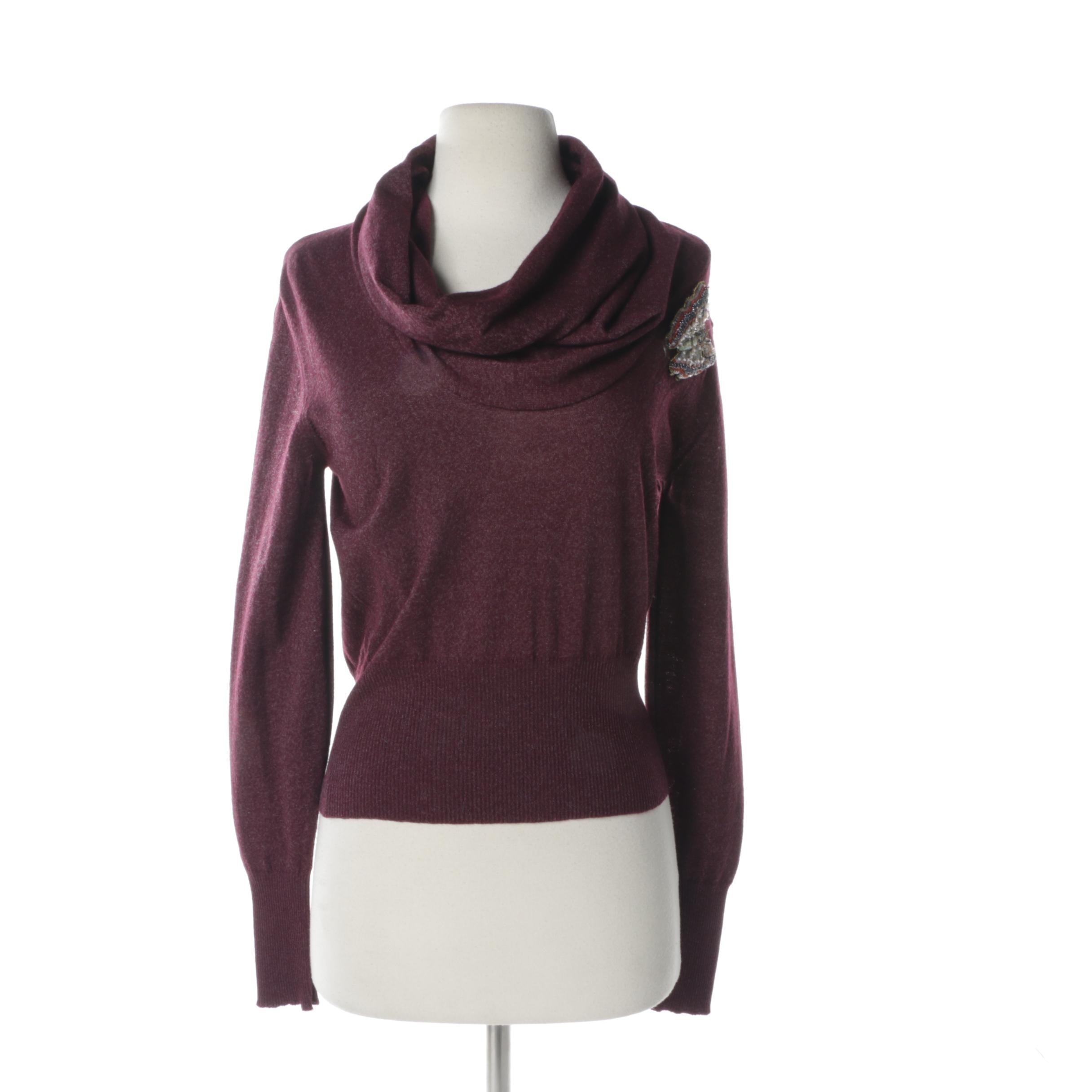 Women's Chloé Cowl Neck Wool Blend Sweater