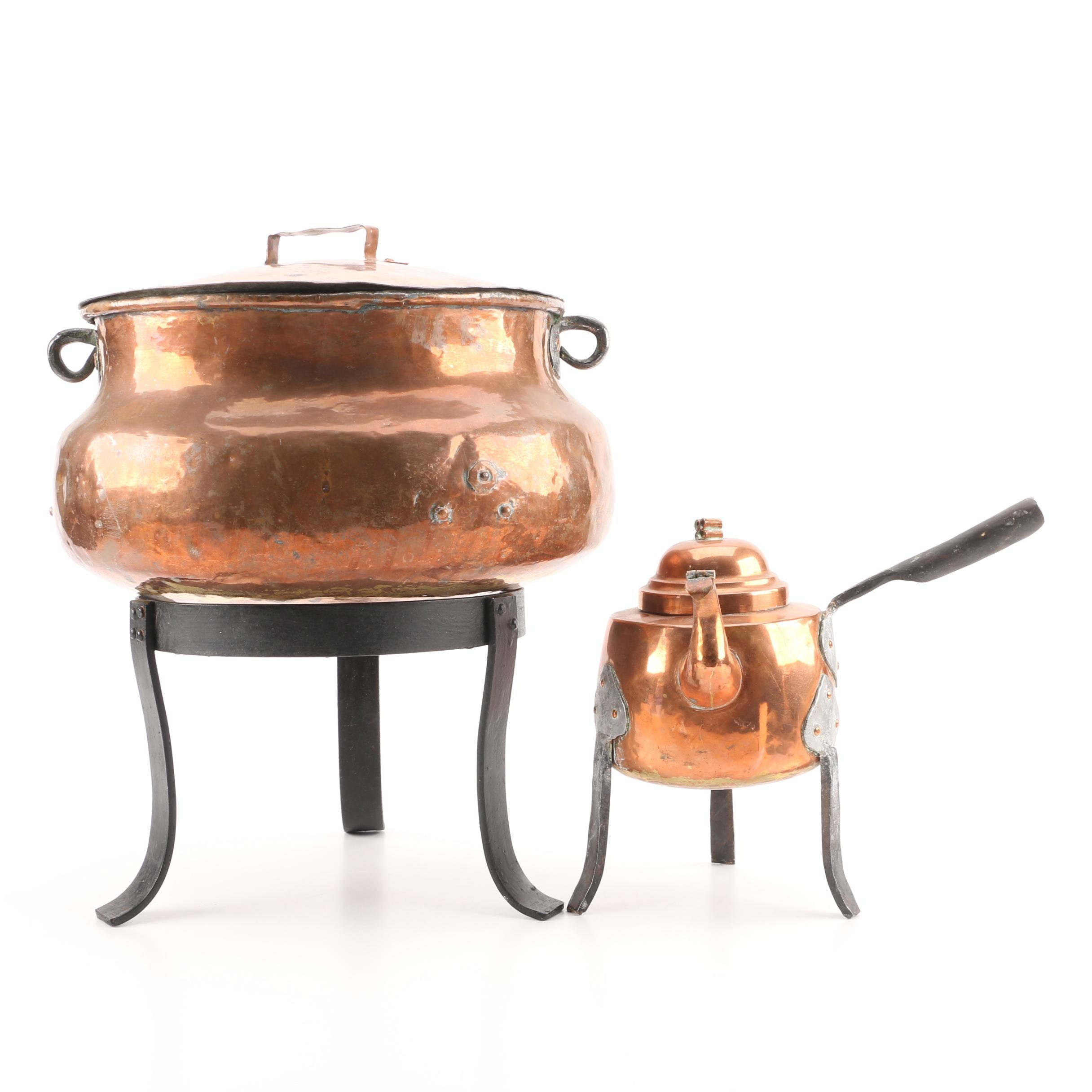 Vintage Copper Kettles with Stand