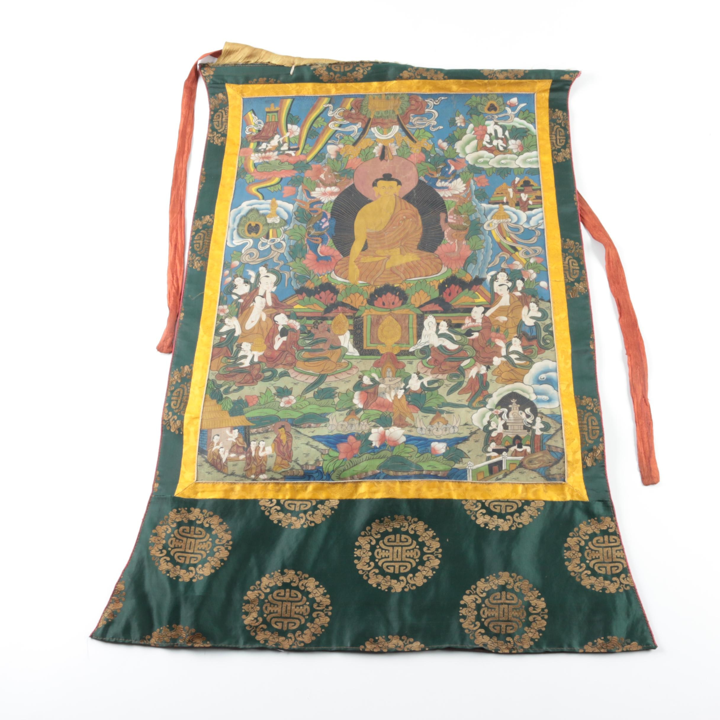 Tibetan Style Thangka Featuring Gautama Buddha
