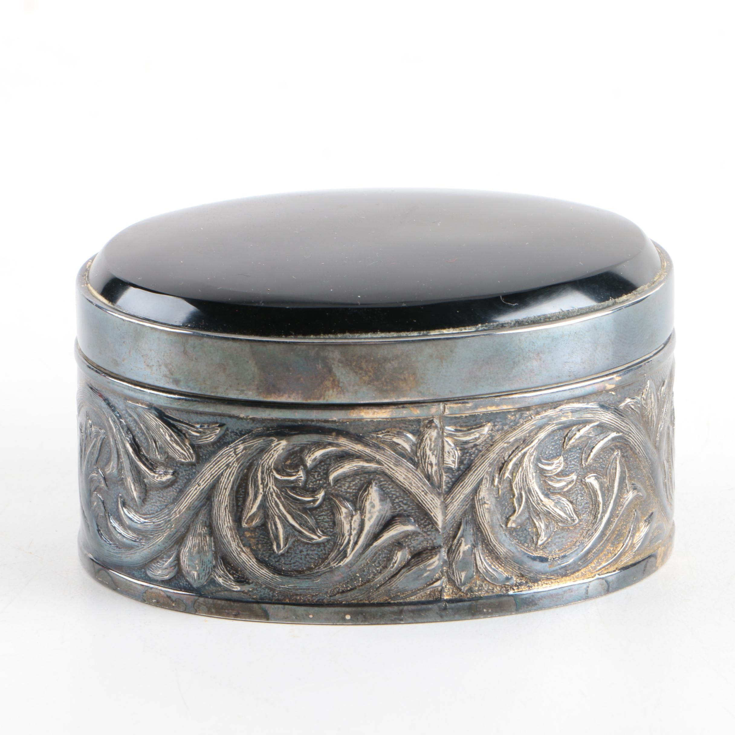 Mexican Ornate Silver Plate Trinket Box with Black Glass Top
