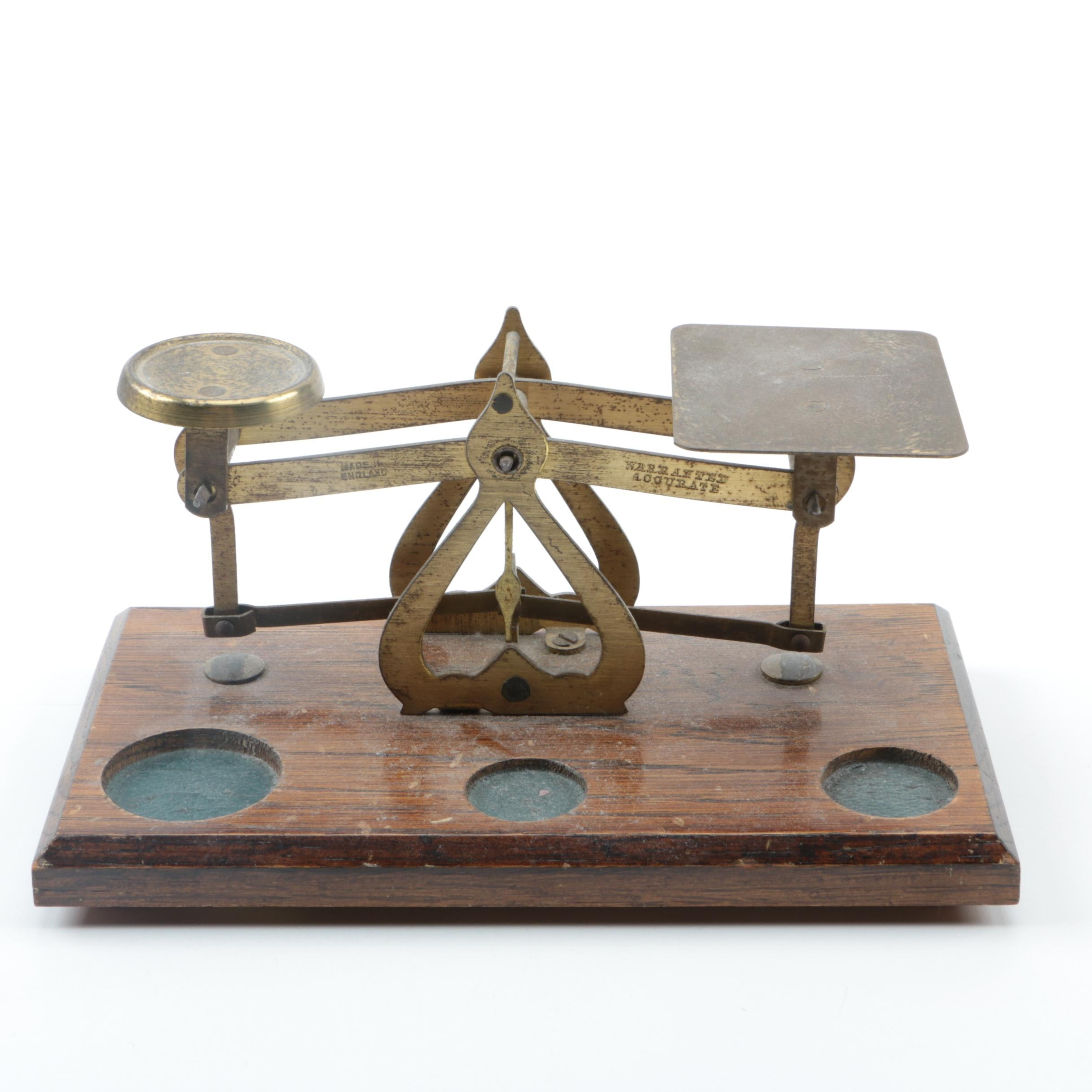 Brass Equal Arm Balance Scale on Wooden Base