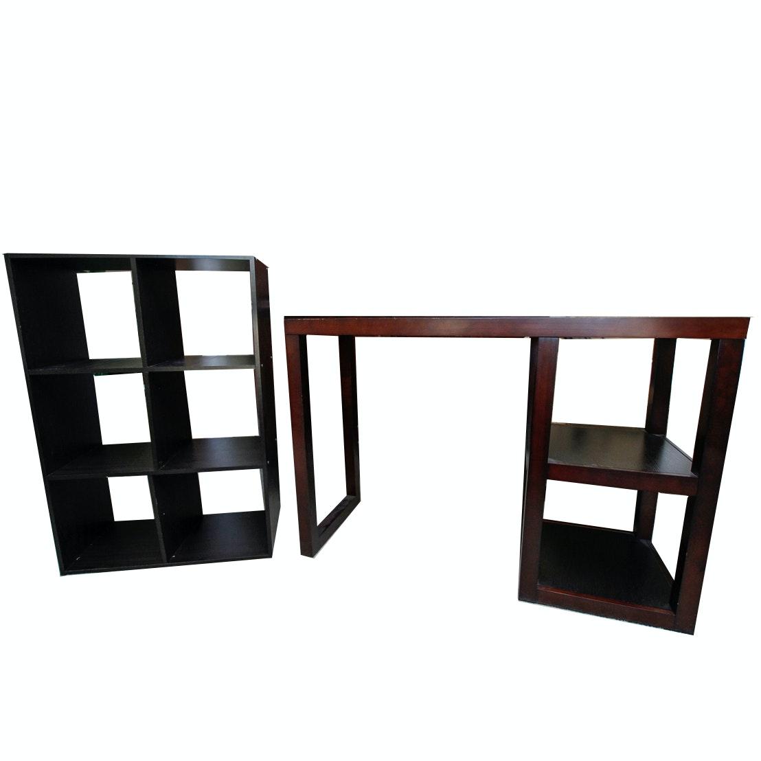 Contemporary Shelving Unit and Desk