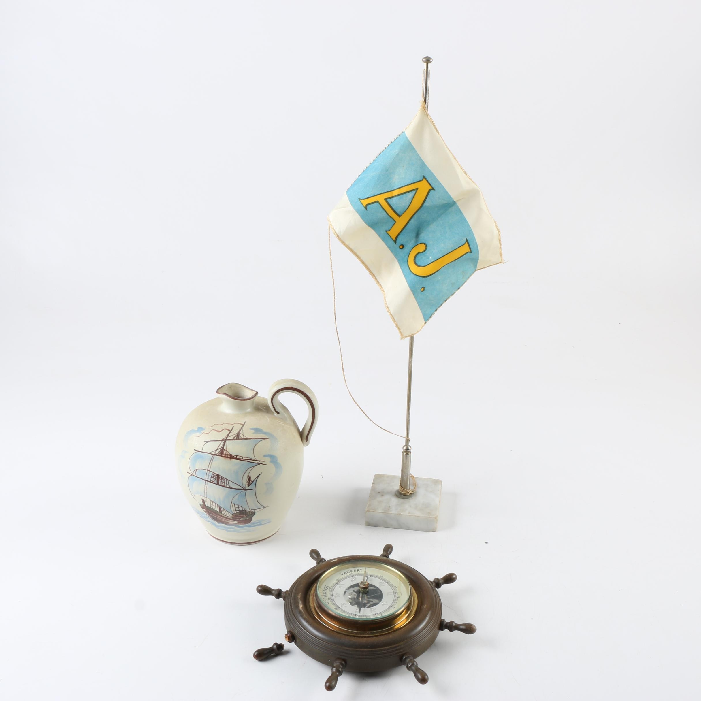 Flag with Hand-Painted Jug and Nautical Barometer