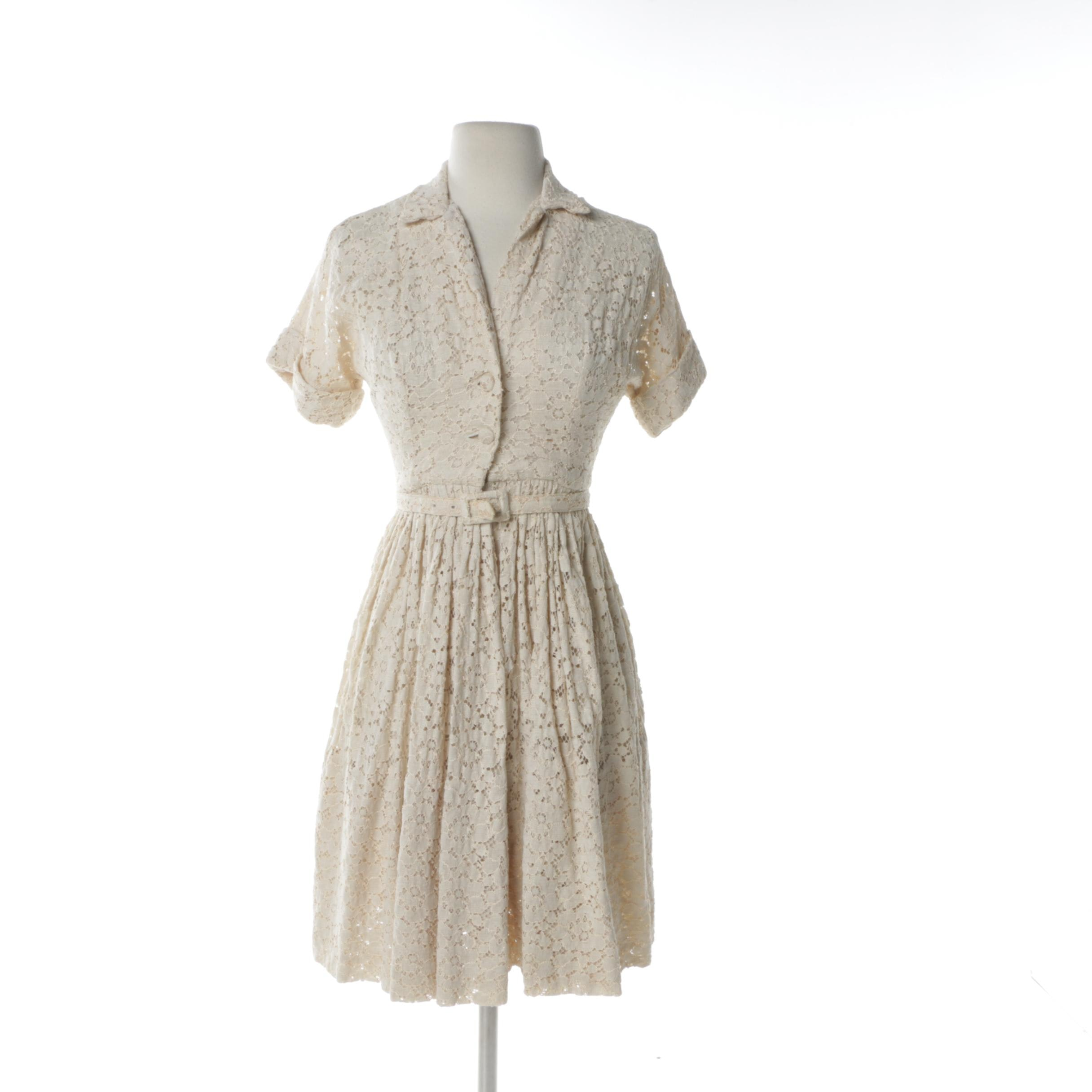 1950s Neiman Marcus Ivory Lace Tea Dress