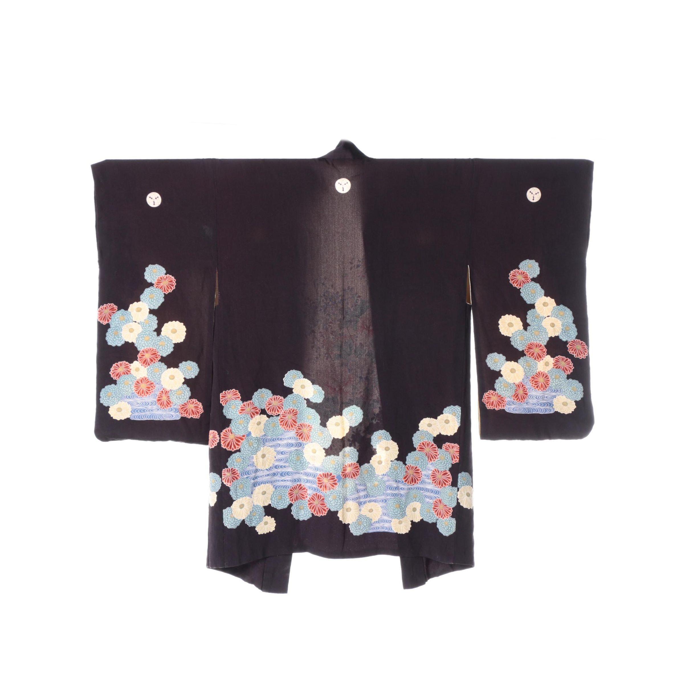 Vintage Japanese Silk Crepe Crested Haori Jacket
