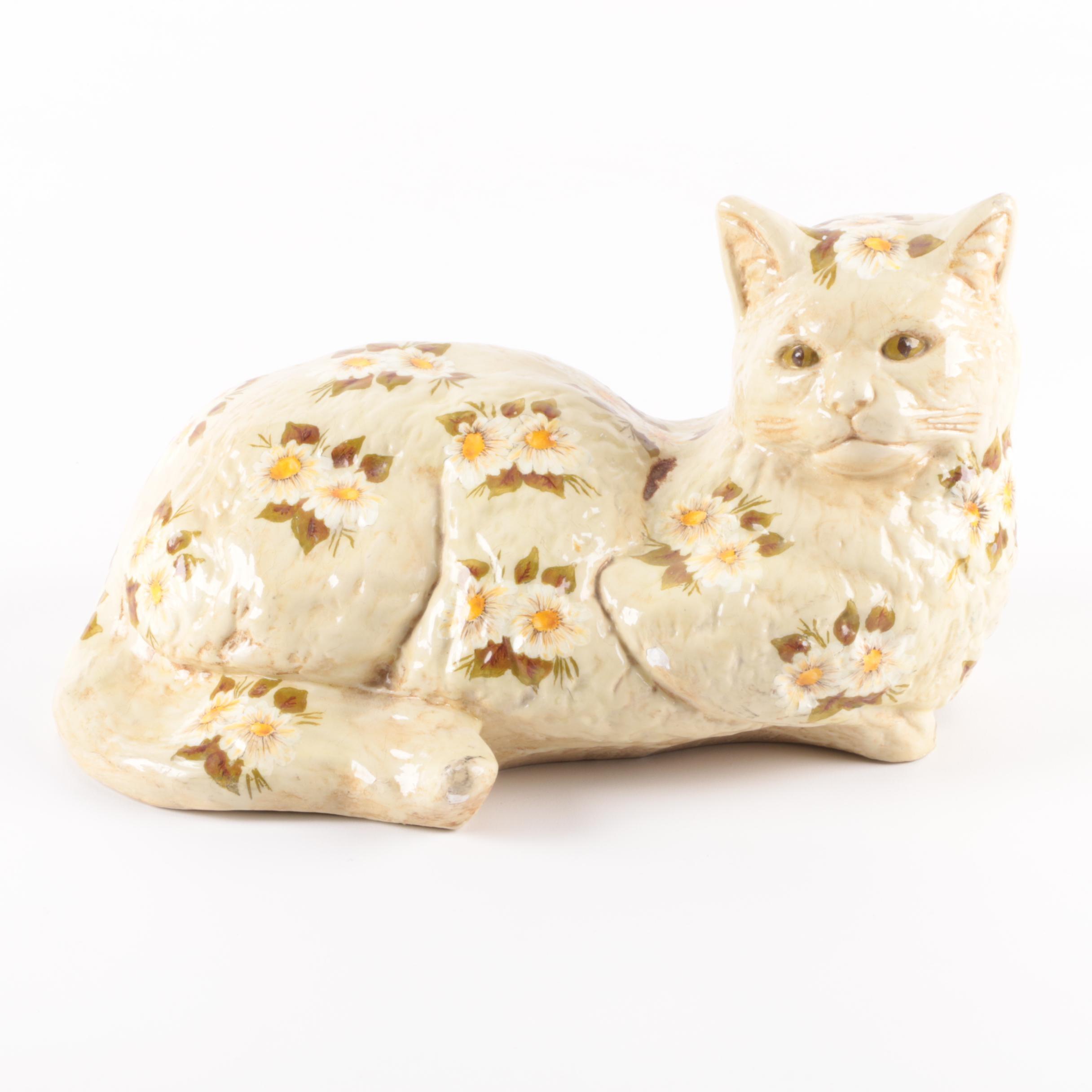 Hand-Painted Ceramic Cat Figurine