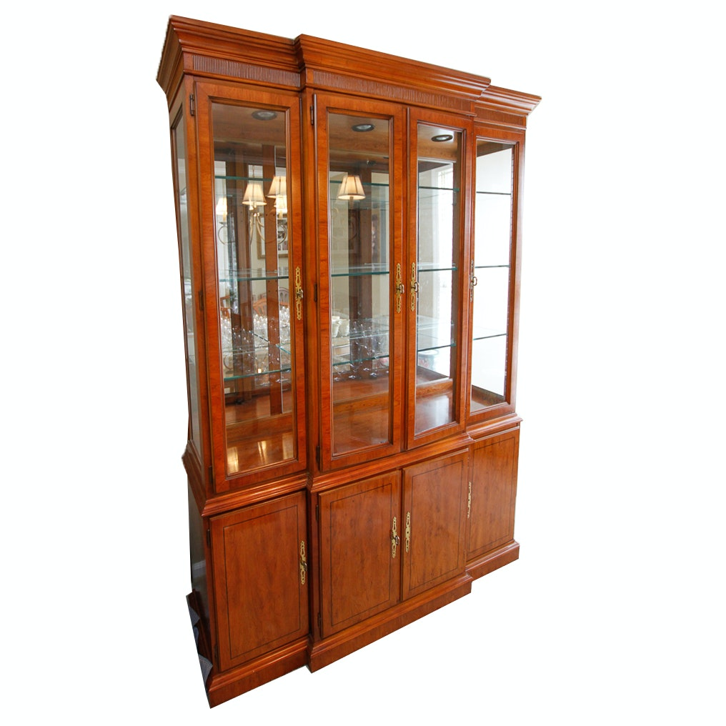 Yew Breakfront China Cabinet by Drexel