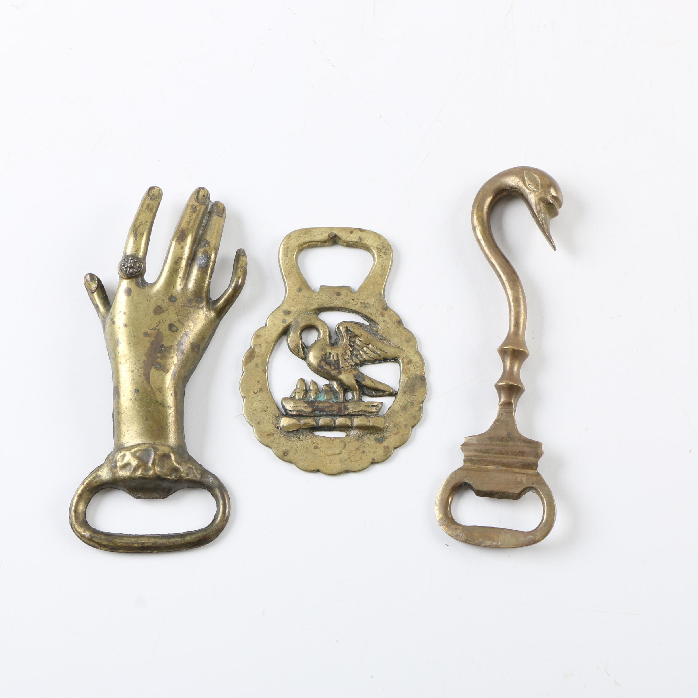 Vintage Brass Bottle Openers with Horse Brass