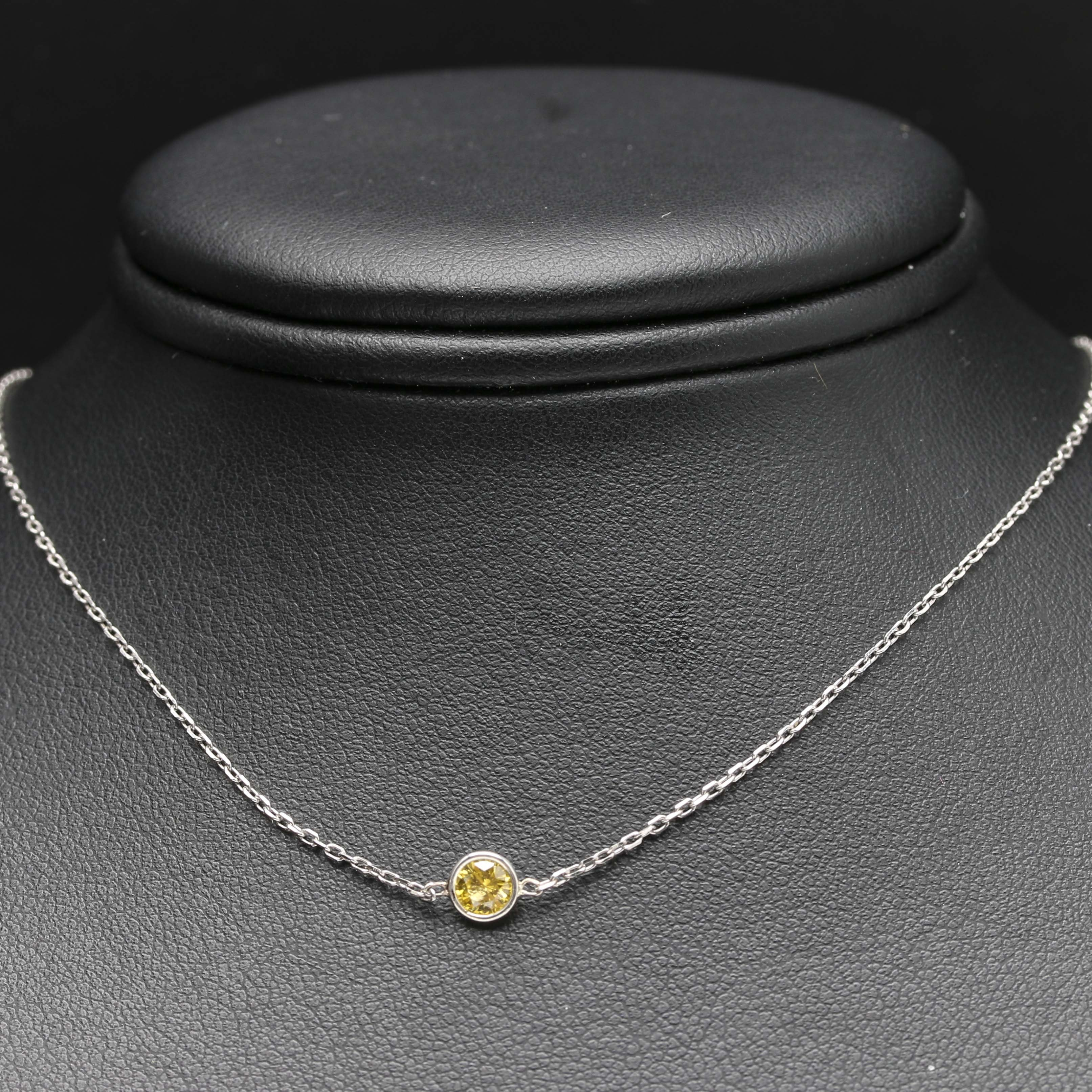 Sterling Silver Yellow Diamond Necklace
