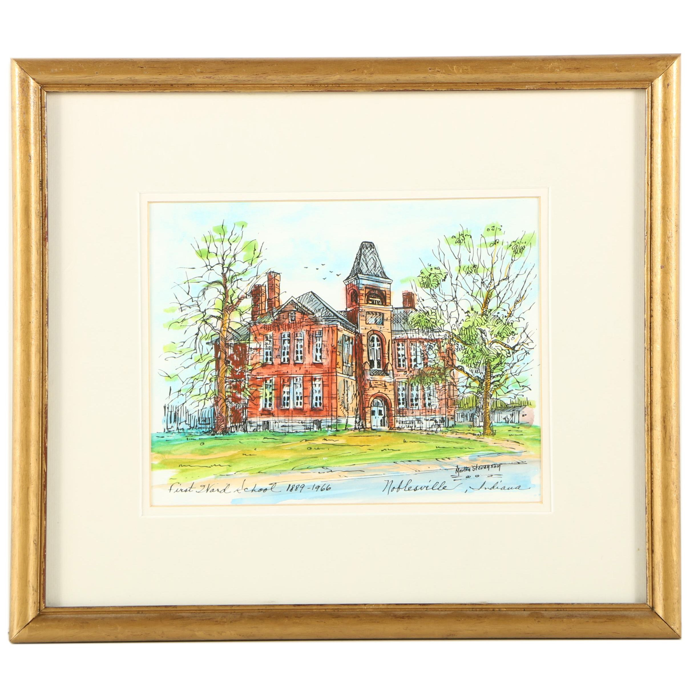 """Hand Colored Reproduction Print After Martha Stevenson's """"First Ward School"""""""