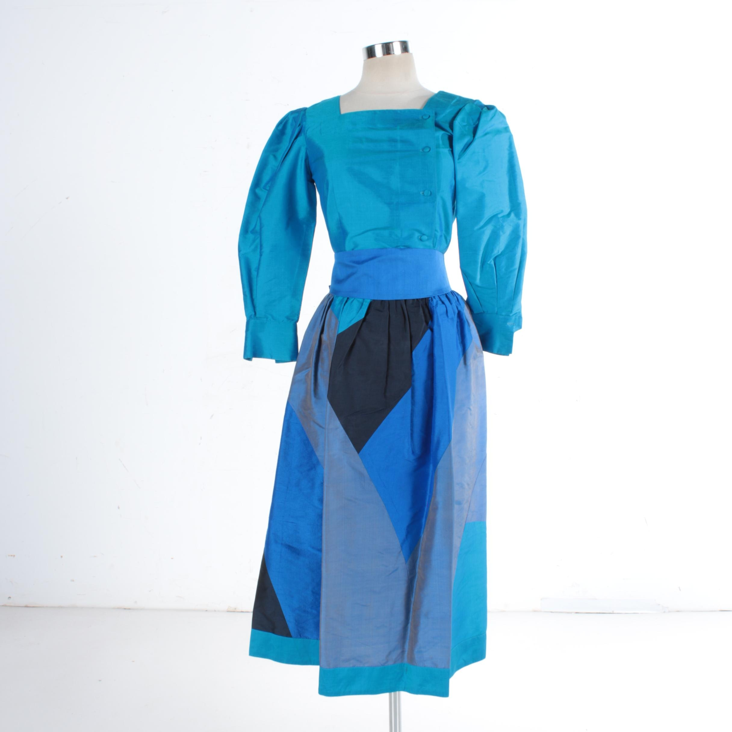 1960s Jim Thompson Cobalt Blue Thai Silk Evening Dress Ensemble