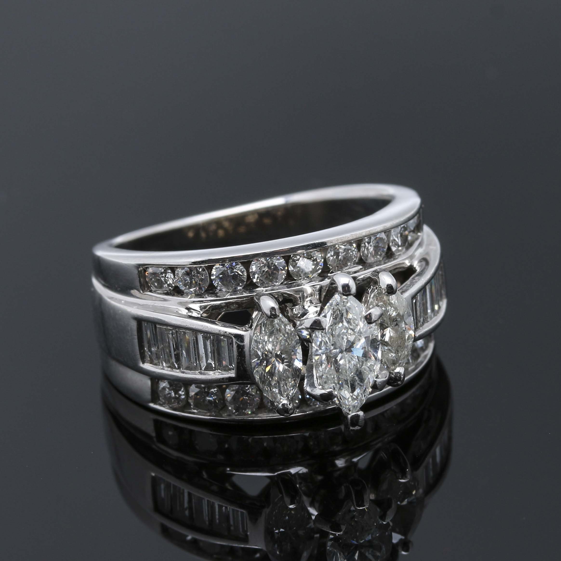 14K White Gold 2.21 CTW Diamond Ring