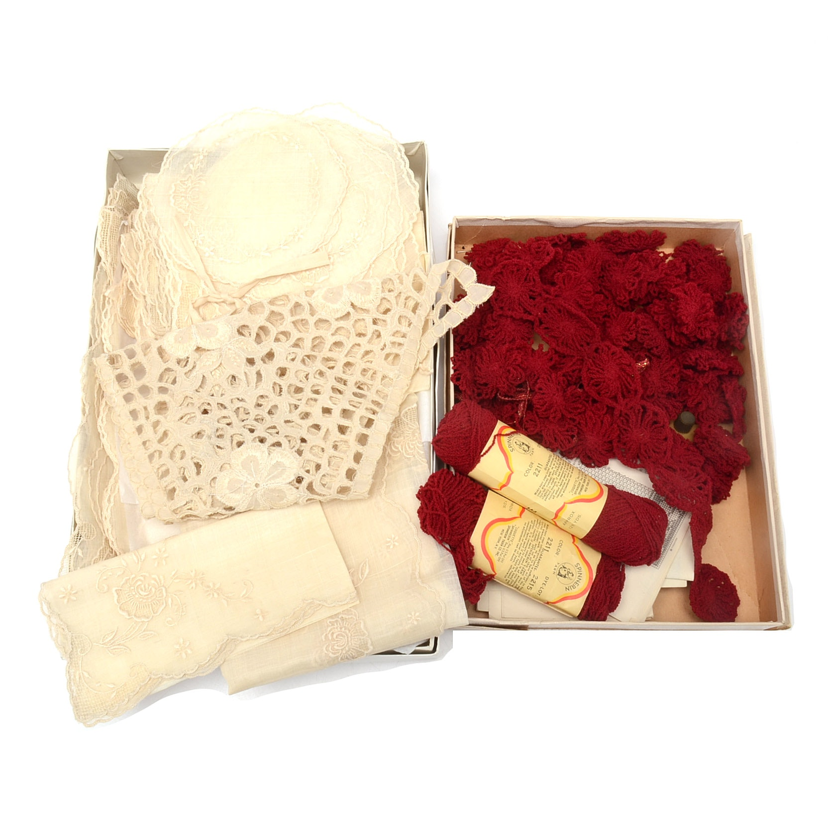 Vintage Lace Table Linens and Crochet Supplies