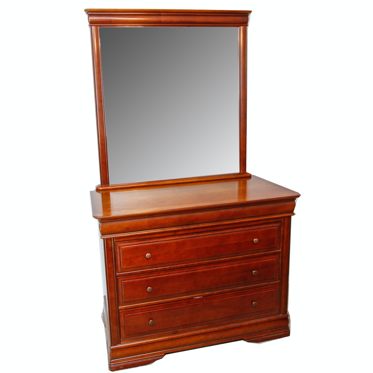 Cherry-Finished Chest of Drawers and Mirror
