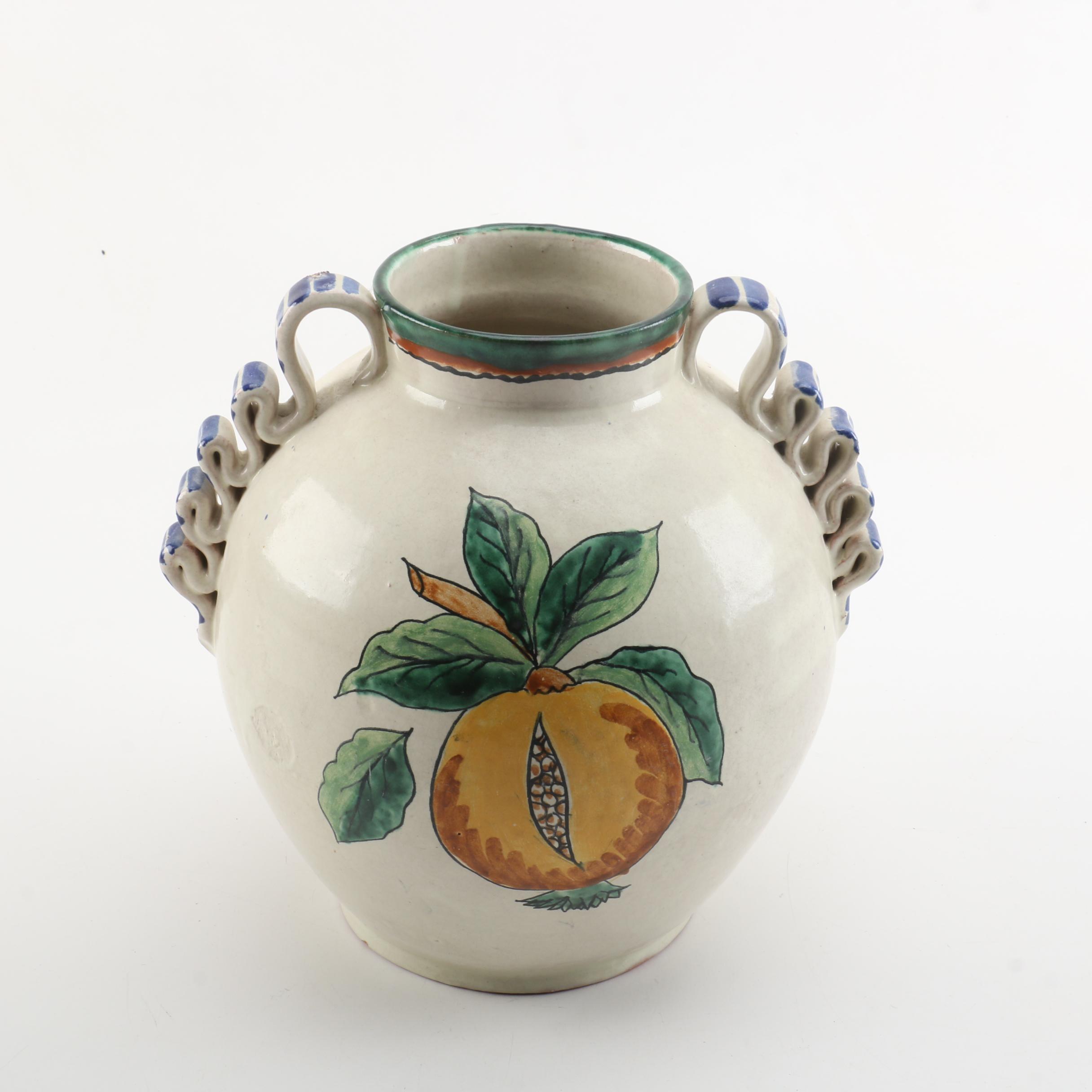 Hand-Painted Fruit Motif Stoneware Vase