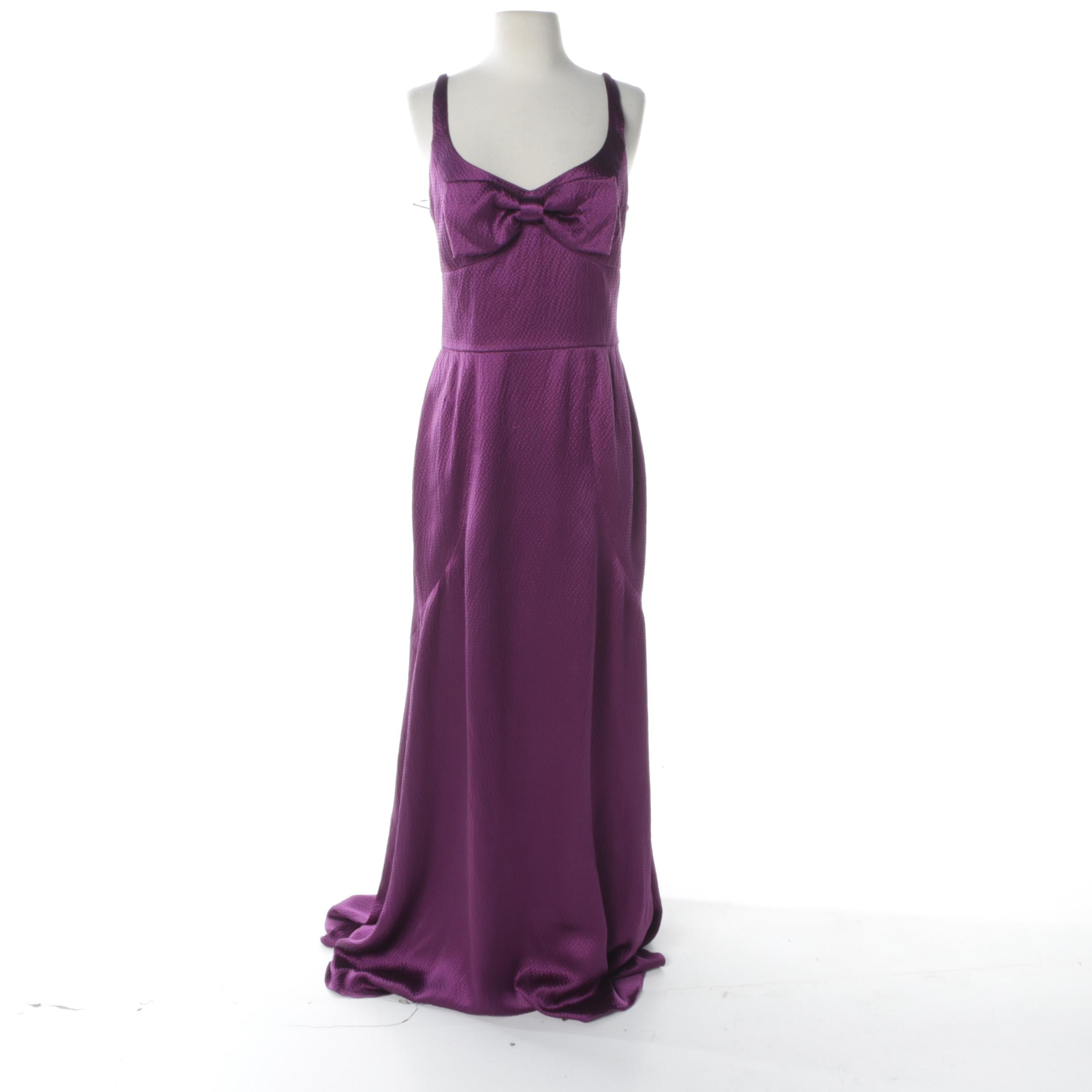 Linda Cunningham Amethyst-Purple Hammered Silk Evening Dress